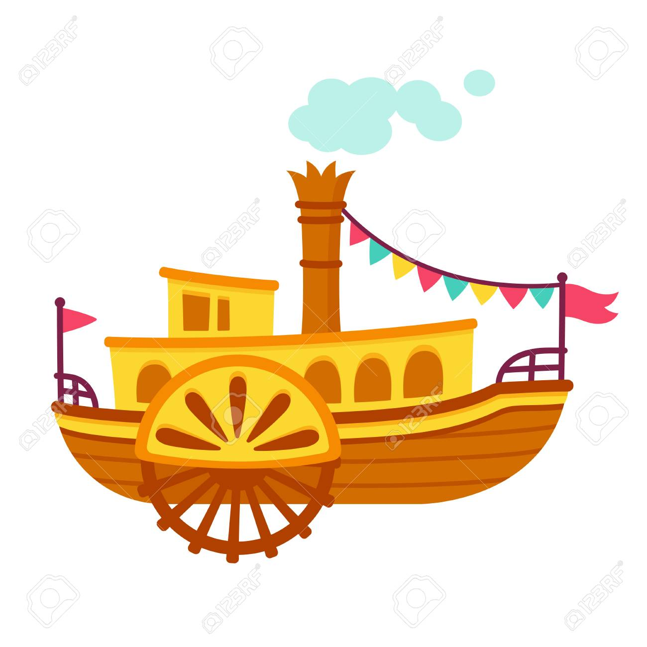 Bright cartoon retro steamboat with side paddle wheel. Old vintage ship vector illustration. - 85495276