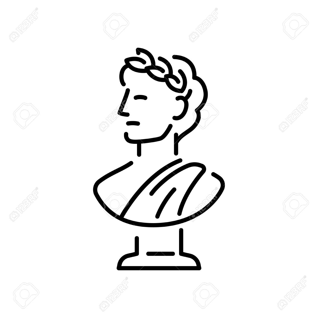 Ancient Greek sculpture with a laurel wreath. - 86537291
