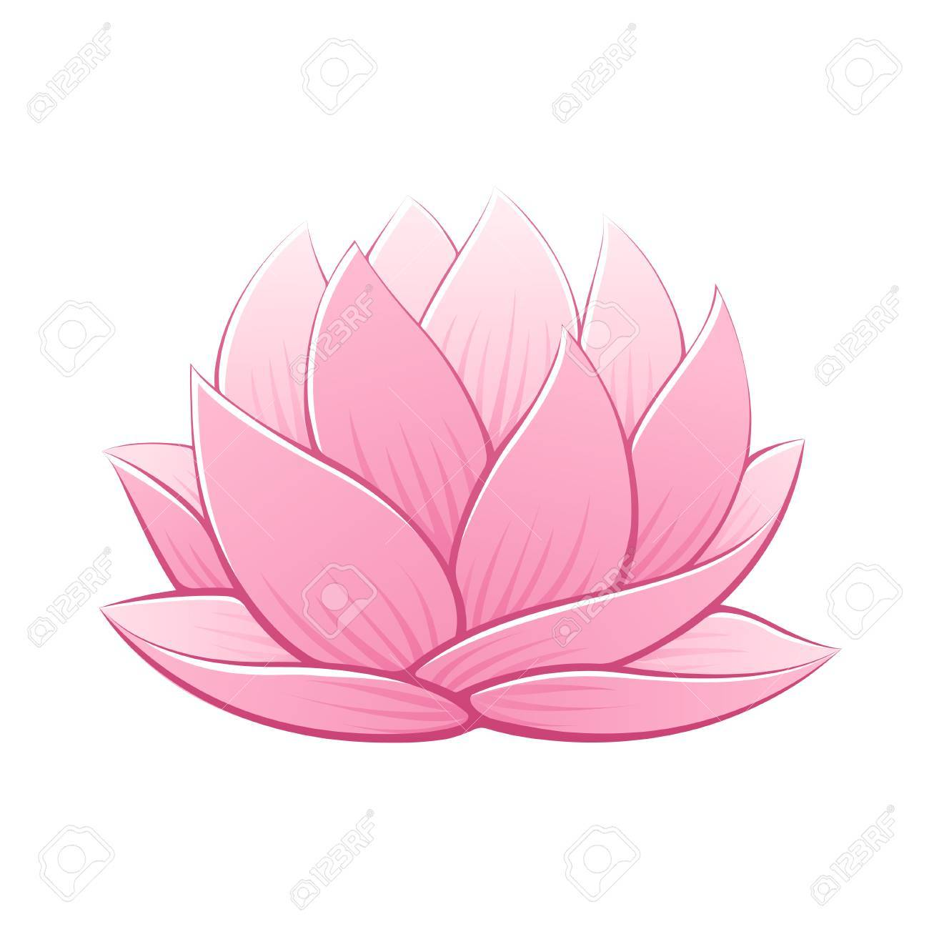 Illustration Vectorielle De Fleur De Lotus Rose Beau Dessin