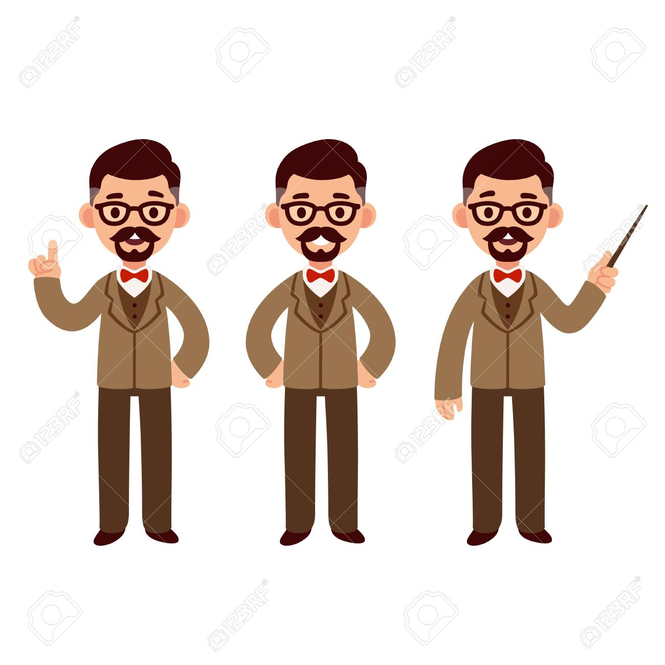 Middle aged professor character set with suit and bow tie. Standing, smiling and pointing. Cute cartoon vector illustration. - 87049677