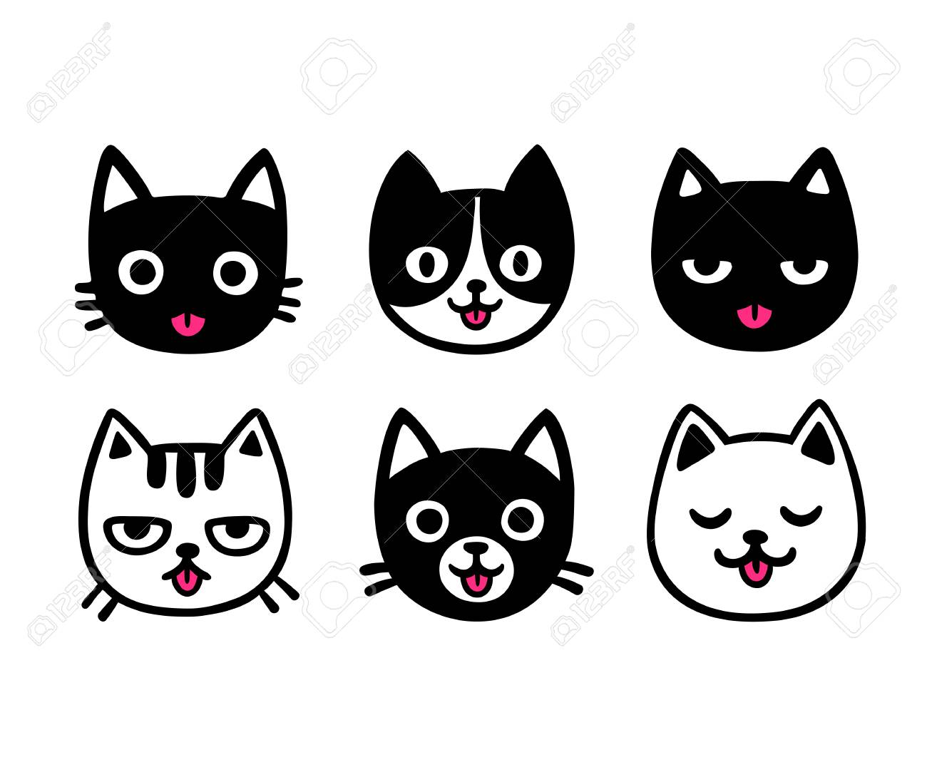 Cute Cartoon Cat Drawing Set Sticking Out Tongue Funny Hand