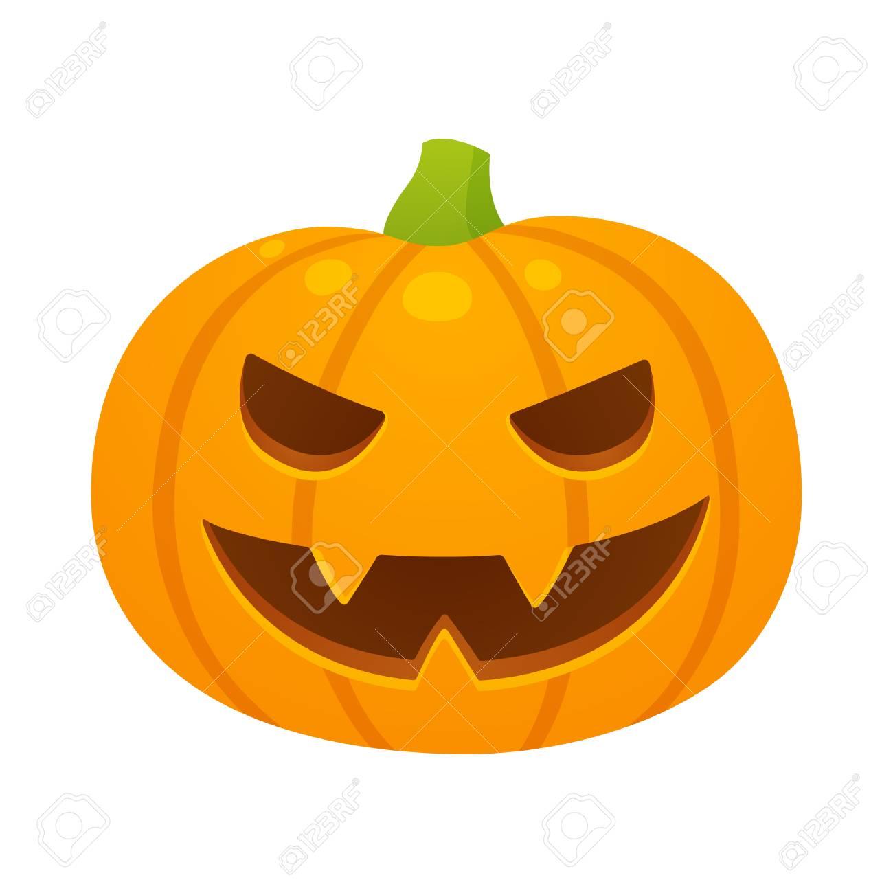 Halloween Tekeningen Pompoen.Vector Halloween Pompoenillustratie Met Kwaad Gesneden Gezicht Cartoon Tekening Geisoleerd Op Een Witte Achtergrond