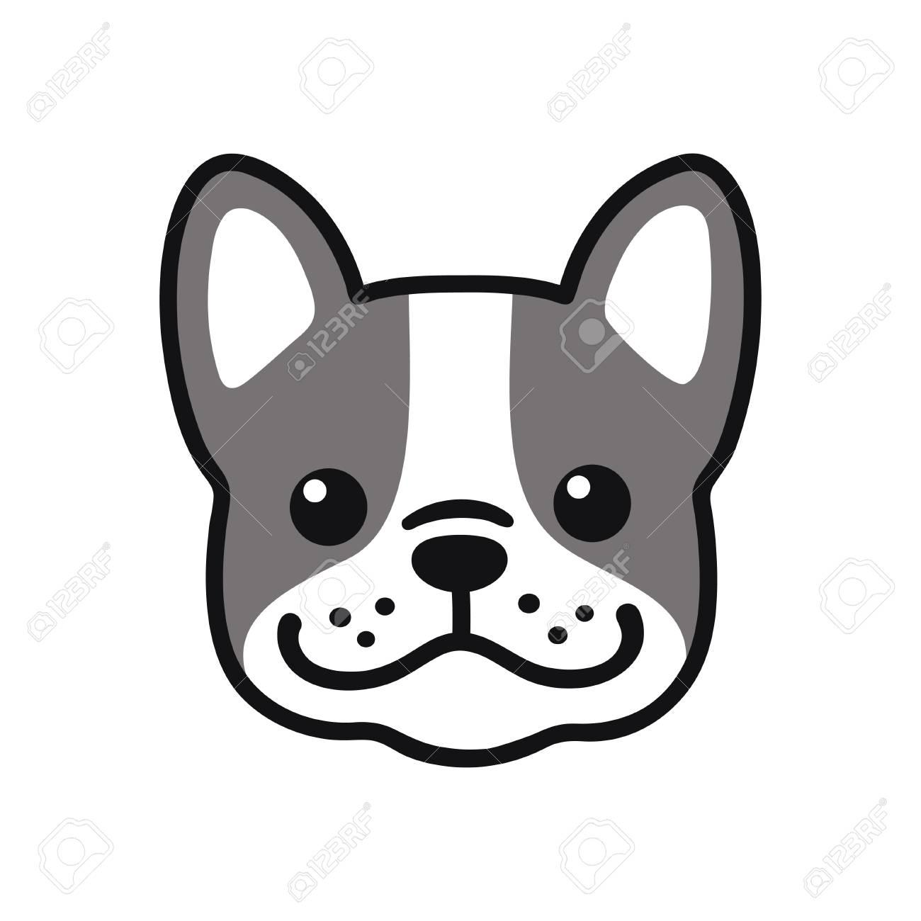 Cute Cartoon French Bulldog Face Drawing Adorable Little Dog