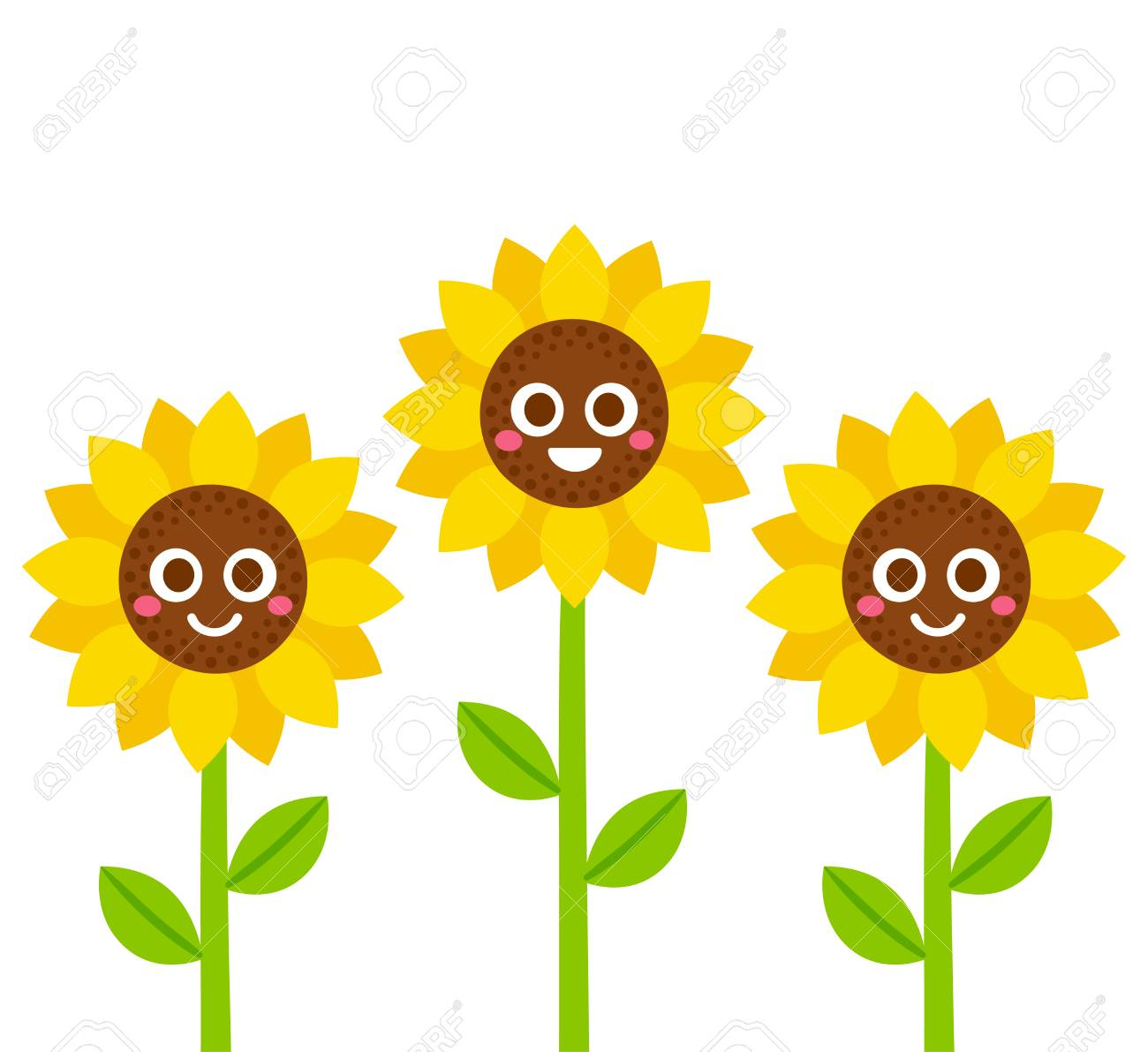 Cute Cartoon Smiling Sunflowers Vector Illustration Flowers With Smiley Faces Stock