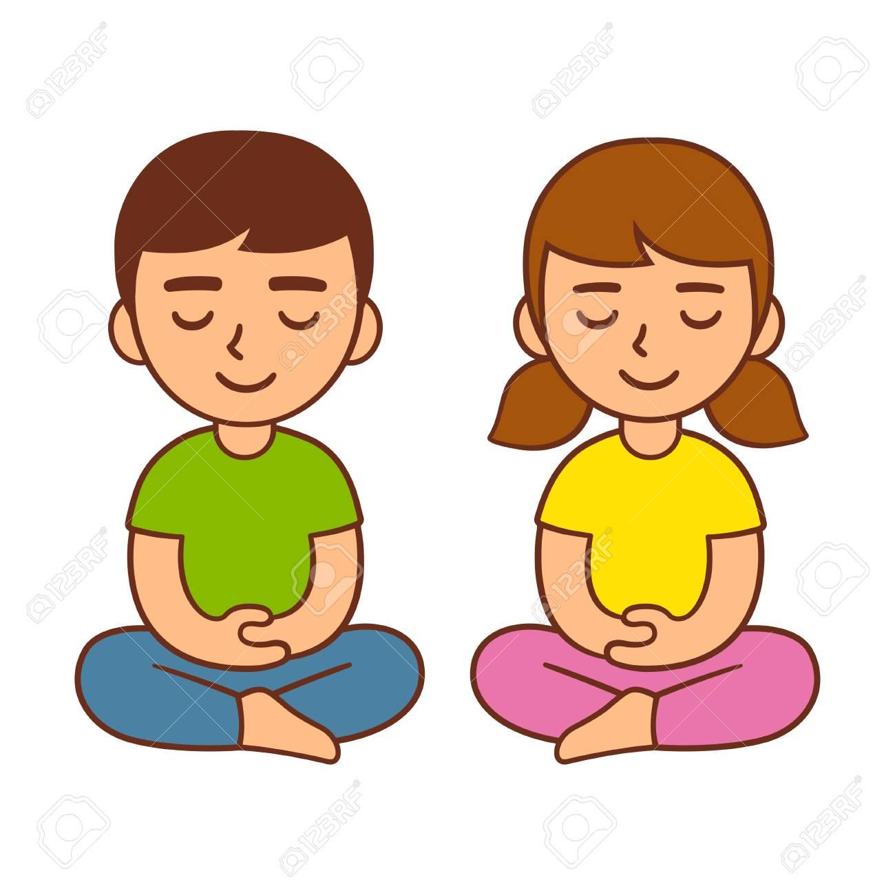 Meditation for kids, children mindfulness activity  Cute cartoon
