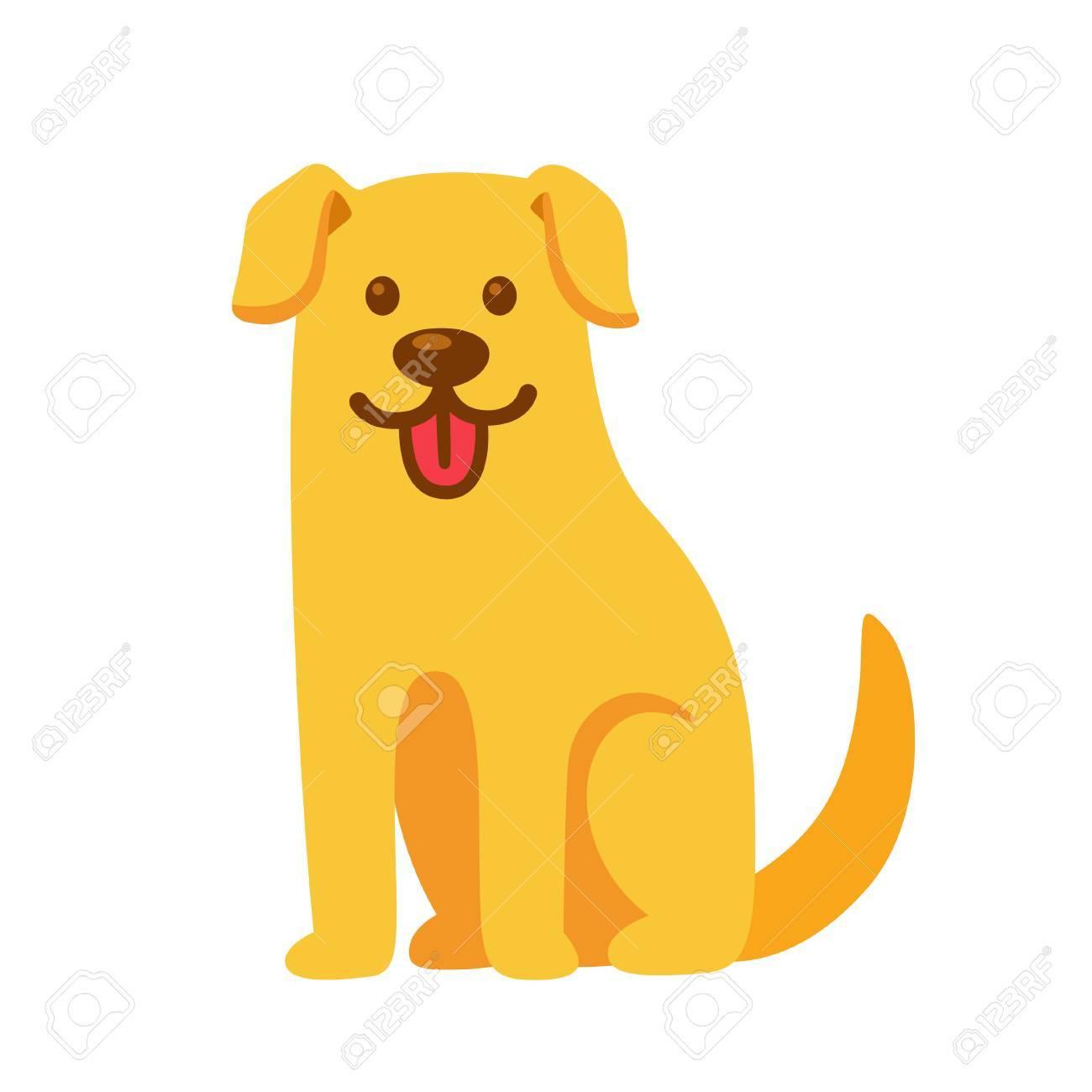 Funny Cartoon Golden Retriever Drawing Cute Pet Labrador Vector