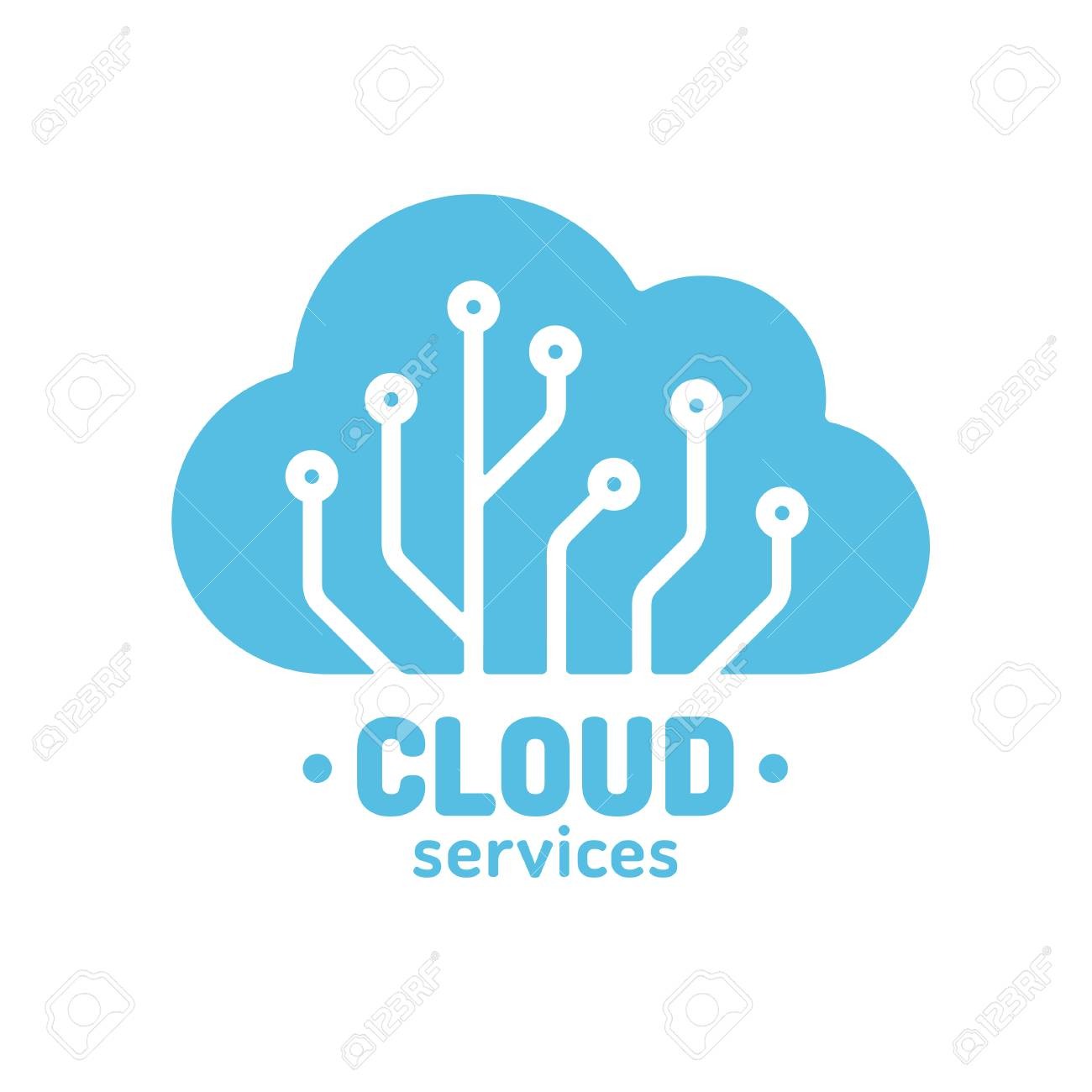 Cloud Technology Logo Simple Silhouette Wit Circuit Board Pattern Digital Storage And Computing