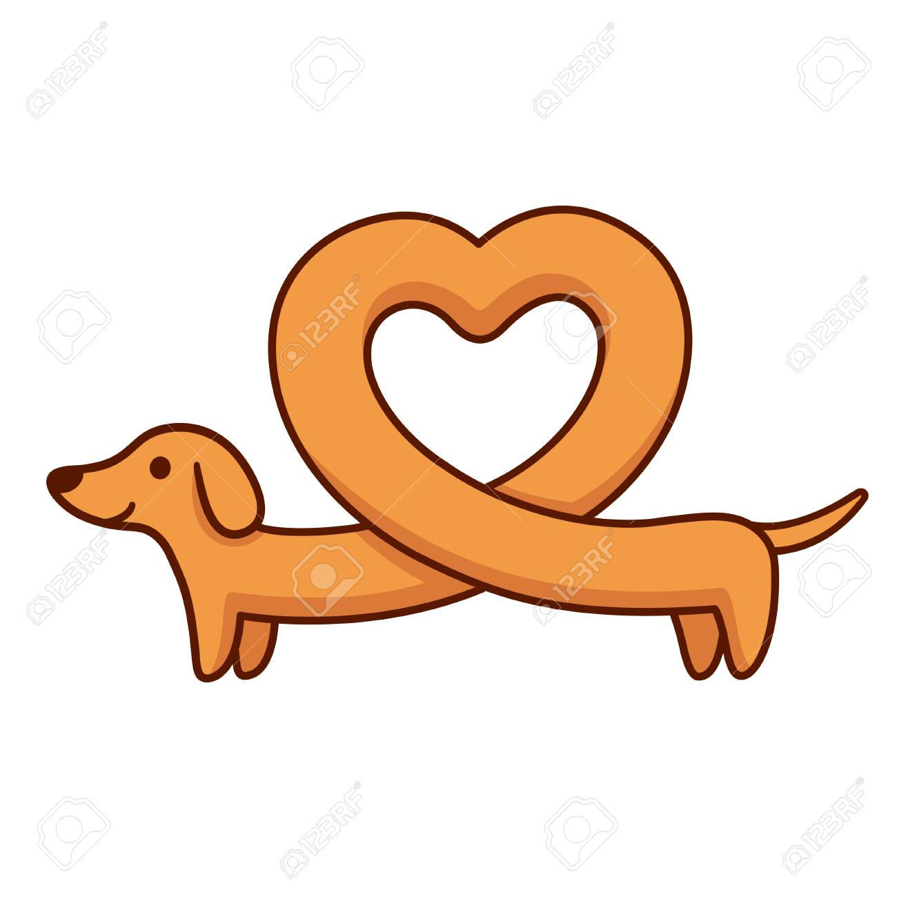 Cute cartoon dachshund with heart shaped body, funny long wiener dog. St. Valentines day greeting card vector illustration. - 89095085