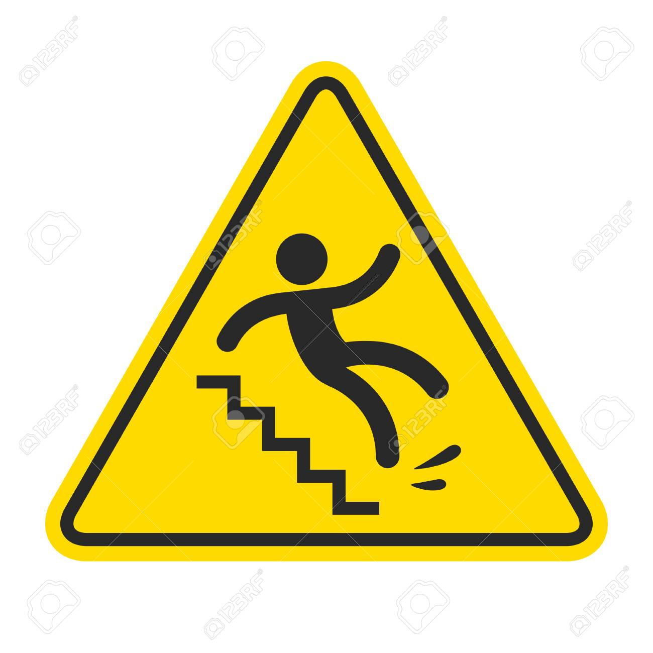 Slippery stairs warning. Yellow triangle symbol with stick figure man falling on stairs. Workplace safety and injury vector illustration. - 89541353