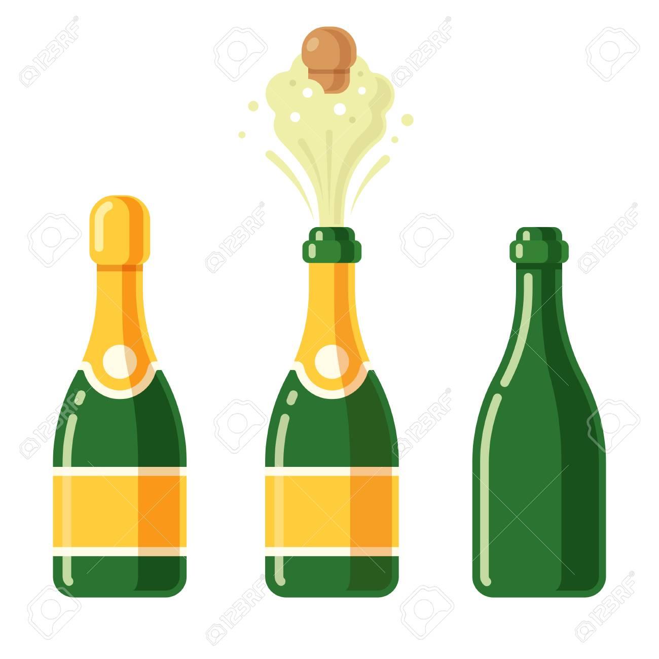 Bouteille De Champagne Dessin bouteilles de champagne dessin animé jeu d'icônes. fermé, éclater
