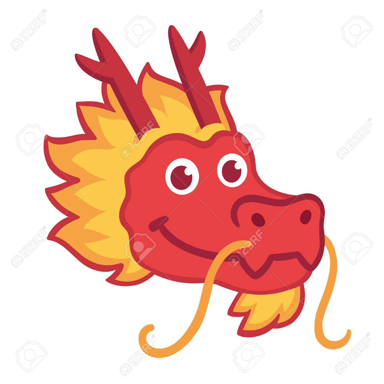 Red Chinese Dragon Head Icon In Cute Cartoon Style Chinese Nwe