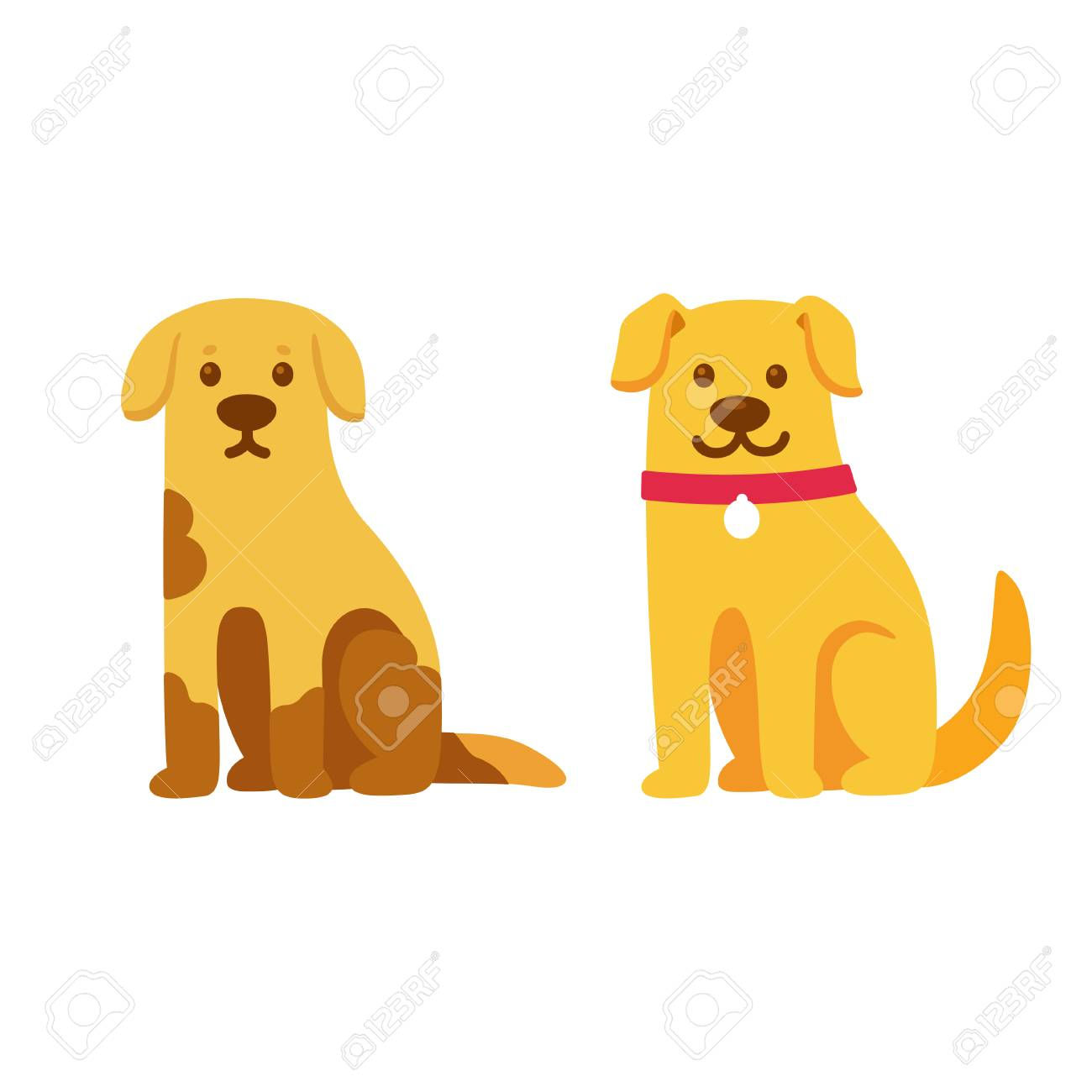 Skinny and dirty stray dog, happy and healthy rescue pet. Before and after adoption, cute cartoon drawing. Adopt a pet concept. Vector illustration. - 90042780