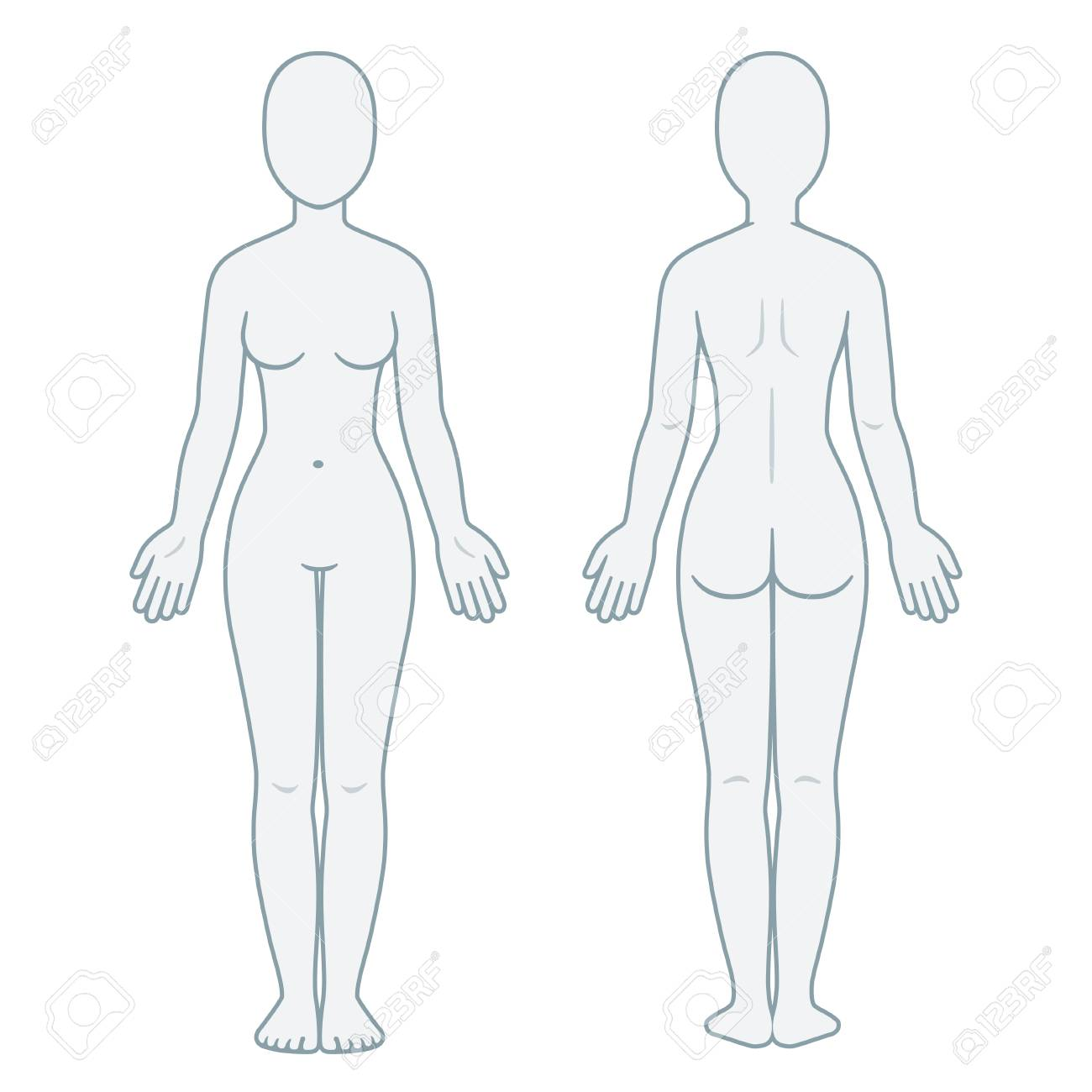 Nude Female Body Front And Back View. Blank Woman Body Template ...