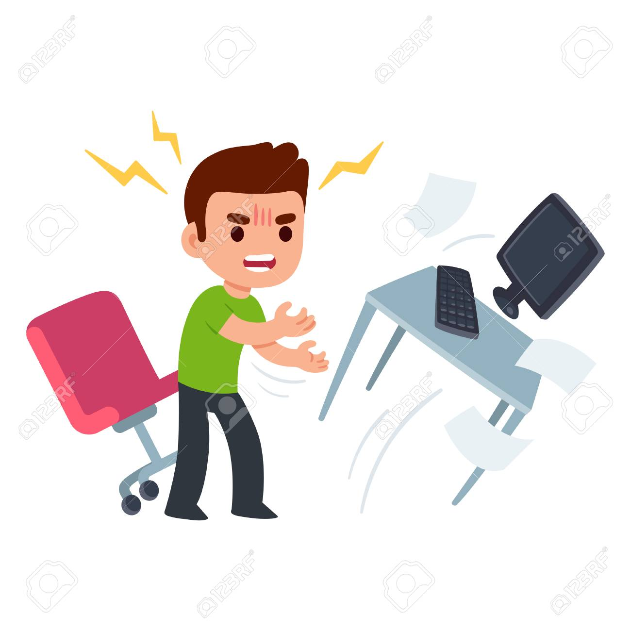 Angry young man at work flipping desk in frustration. Funny flat cartoon vector illustration. - 90473270