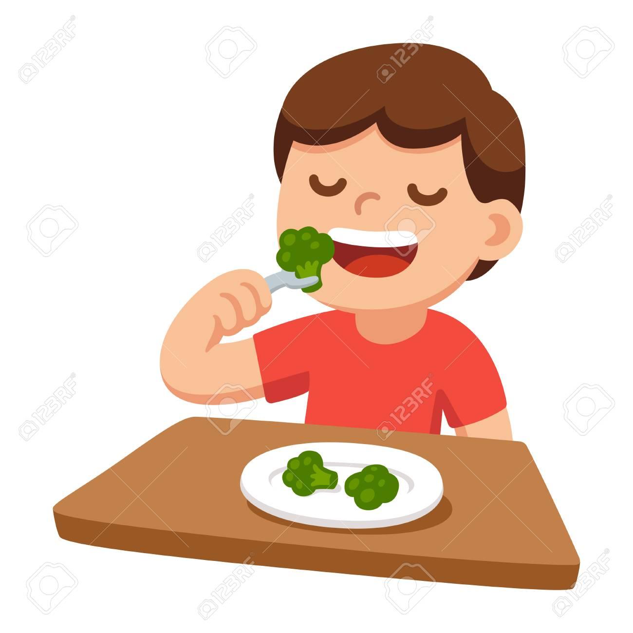 Cute Dibujos Animados Niño Feliz Comiendo Brócoli Comida Sana Y Niños Ilustración Vectorial Ilustraciones Vectoriales Clip Art Vectorizado Libre De Derechos Image 90904627