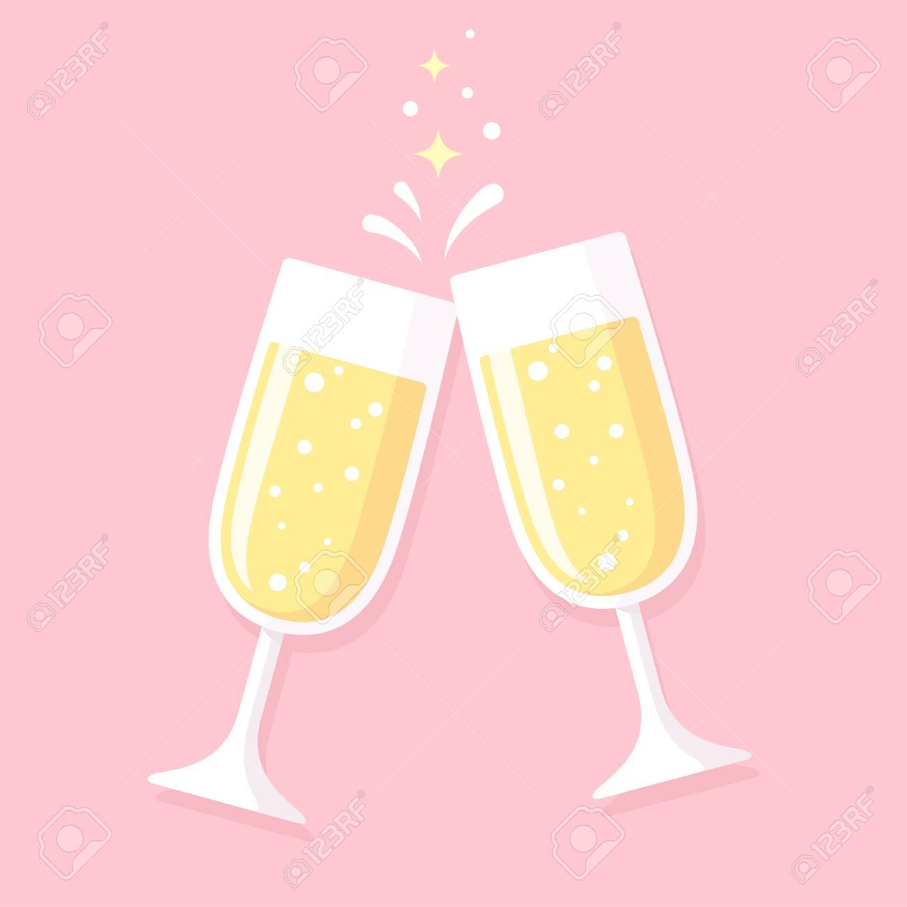 Prost Zwei Glaser Champagner Auf Rosa Hintergrund Hochzeit
