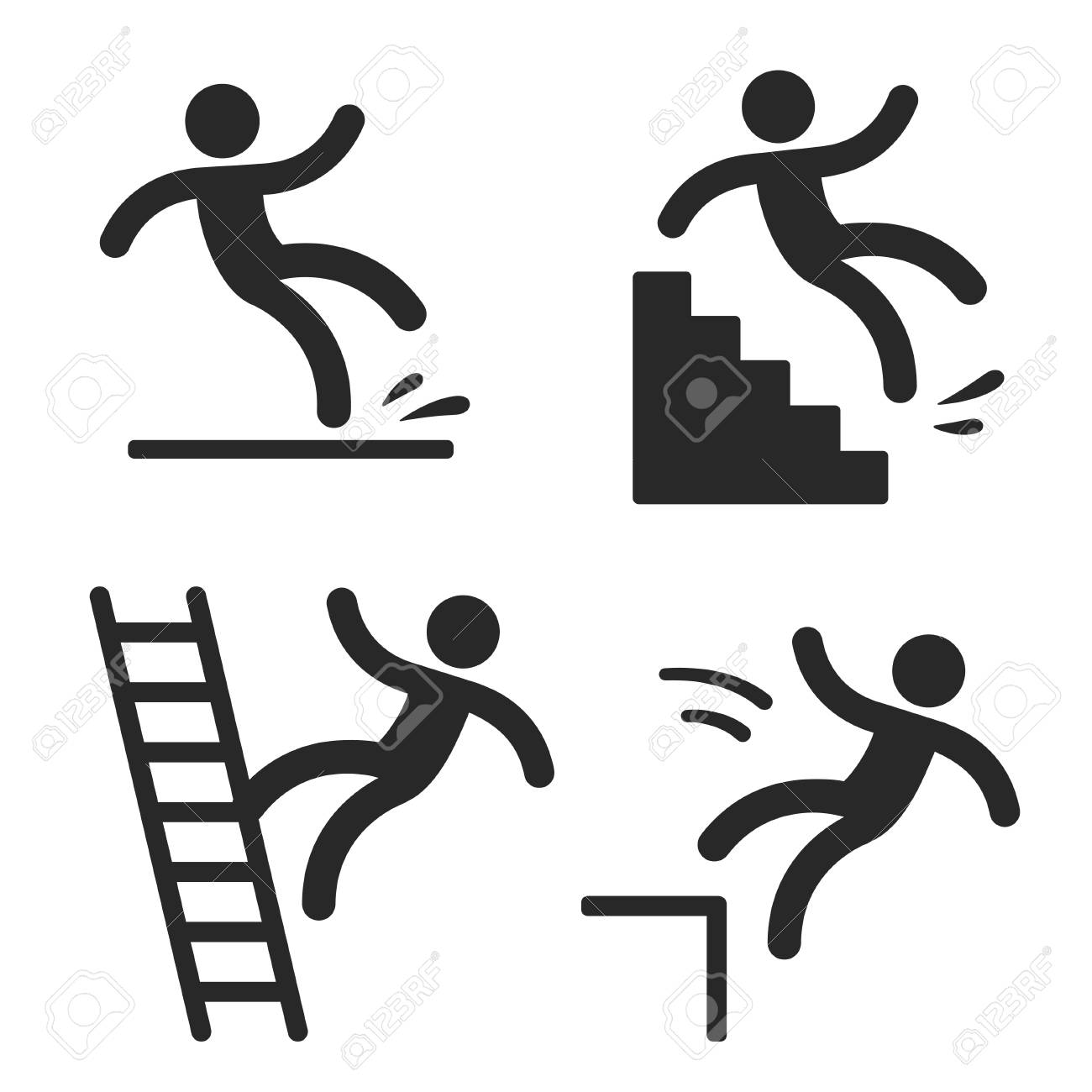 Caution symbols with stick figure man falling. Wet floor, tripping on stairs, fall down from ladder and over the edge. Workplace safety and injury. - 90904850