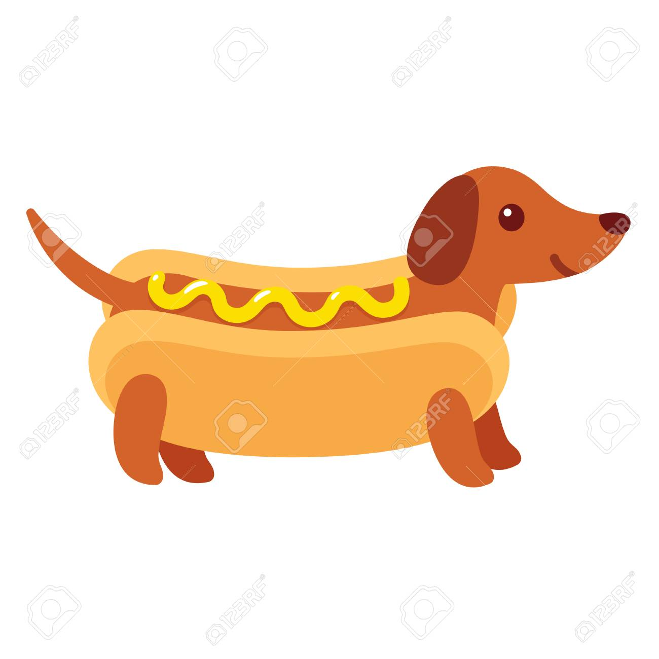 Dachshund Puppy In Hot Dog Bun With Mustard Funny Cartoon Drawing Royalty Free Cliparts Vectors And Stock Illustration Image 91728841