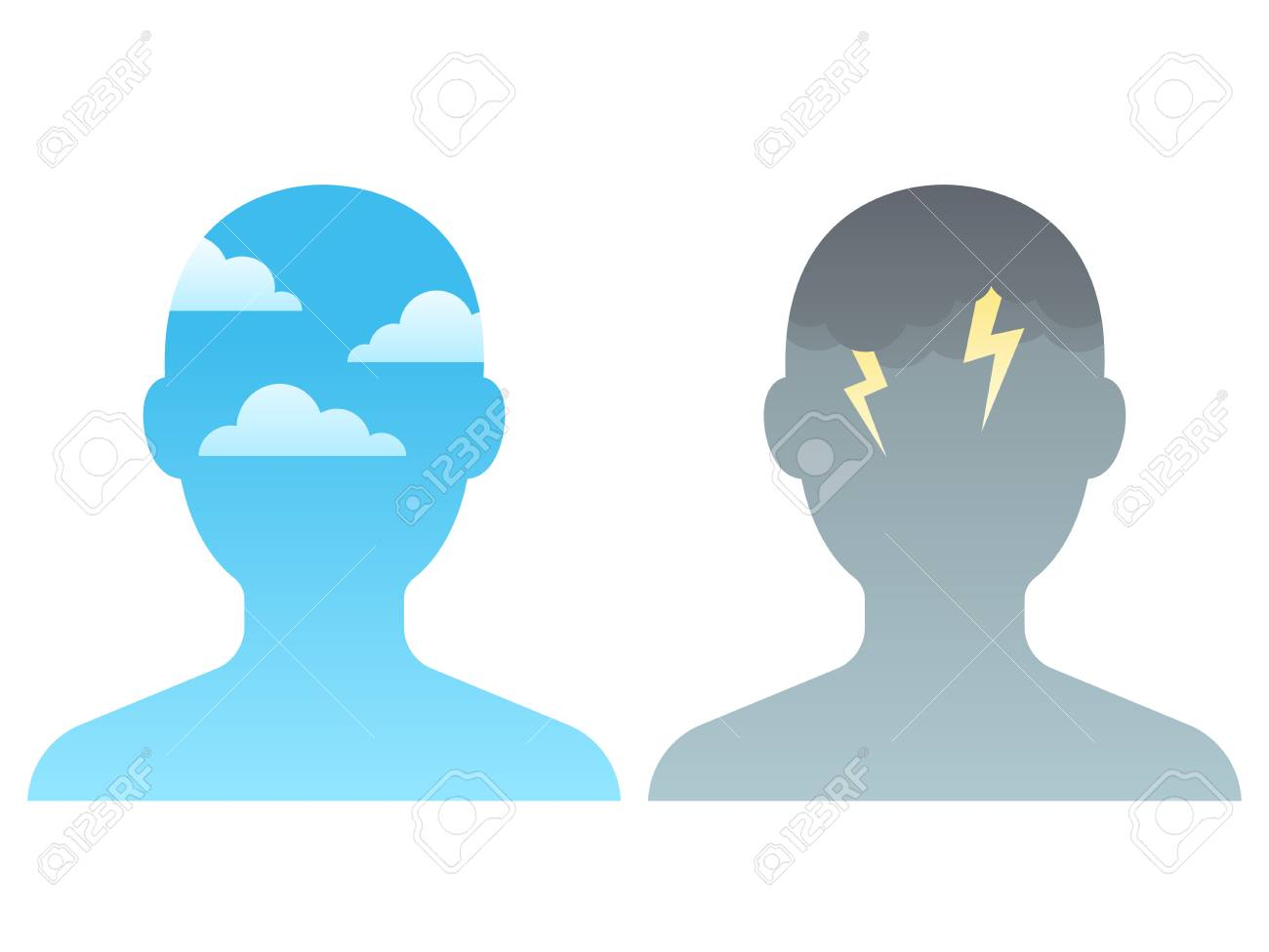Head silhouette with blue sky and dark storm clouds. Mindfulness and stress management concept, vector illustration. - 91728844
