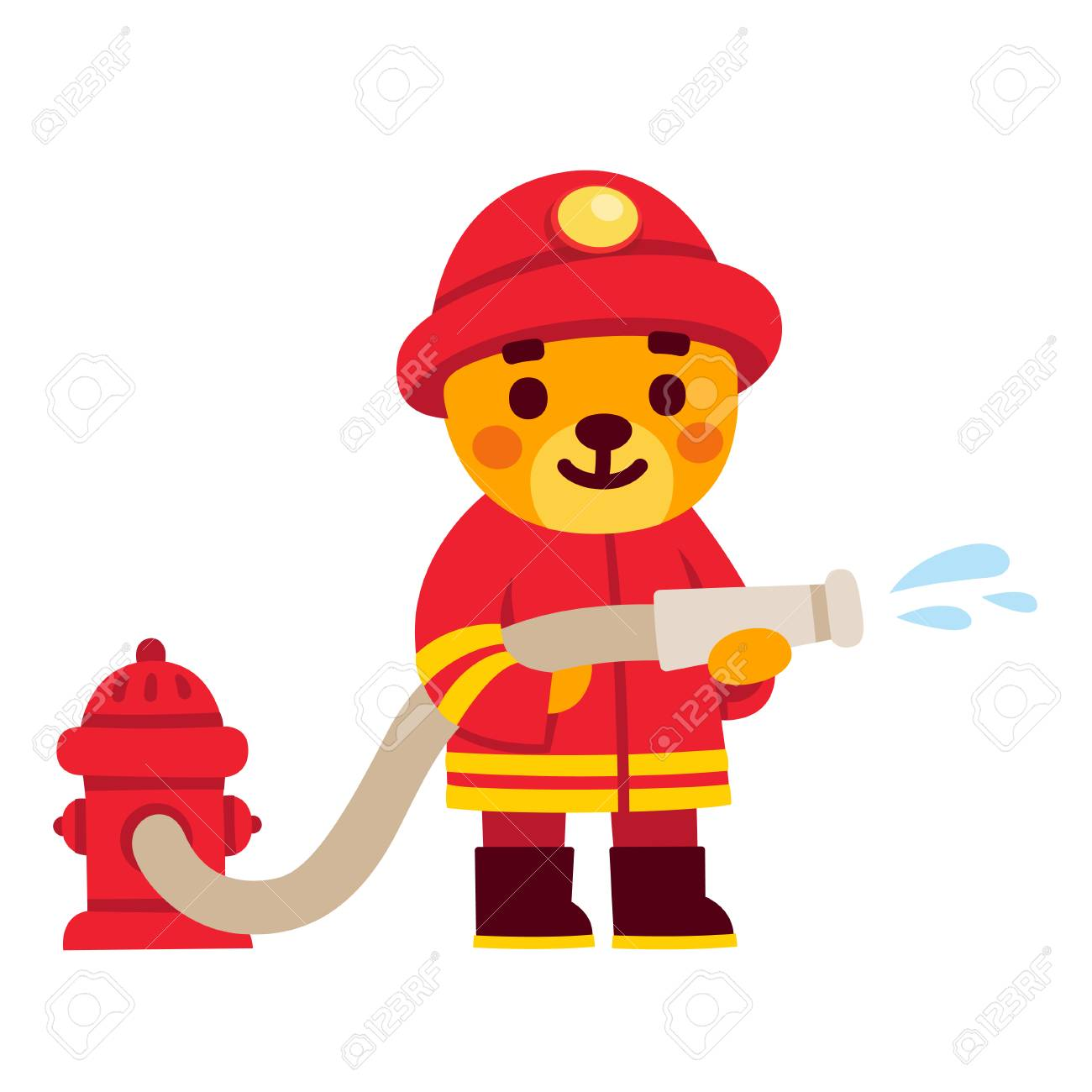 Cute cartoon firefighter character. Teddy bear in fireman uniform with water hose and fire hydrant. Hand drawn illustration. - 92234814