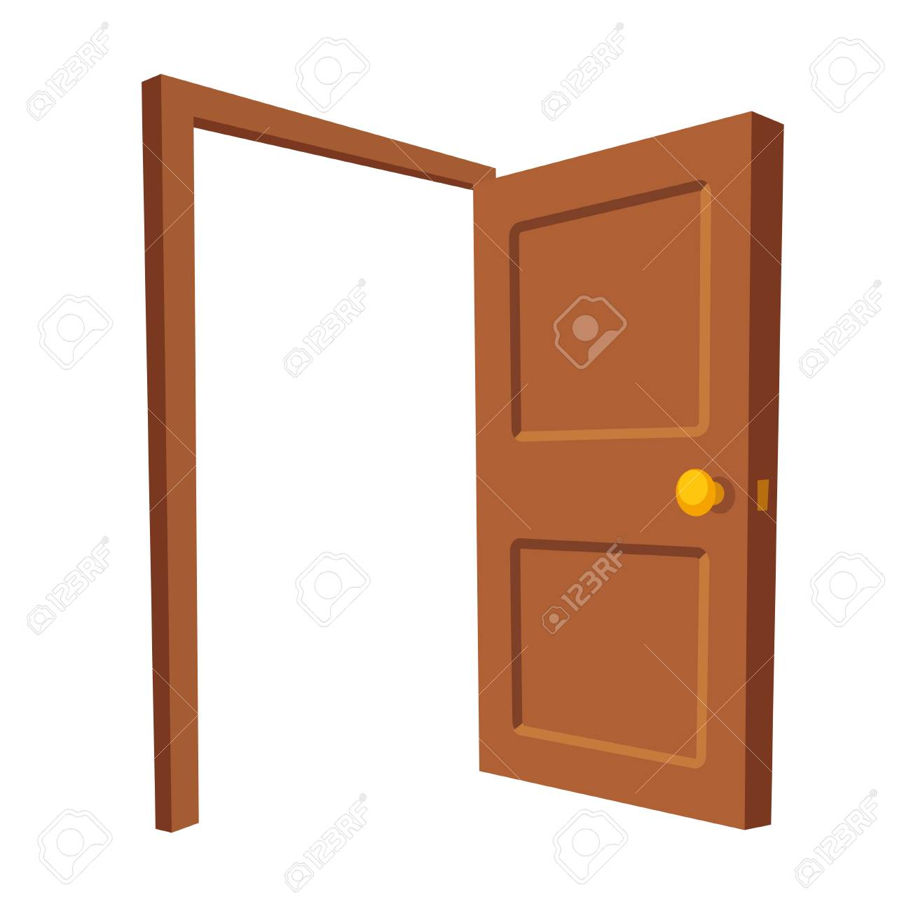 Open Door Isolated Illustration. Wooden Door Frame In Cartoon ...