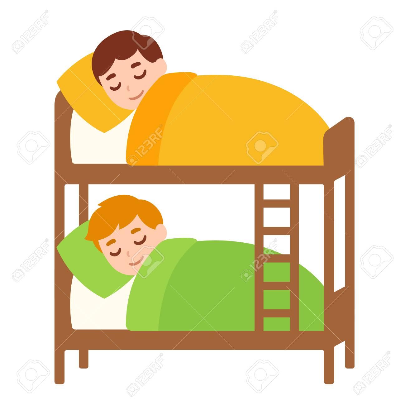 little boys sleeping in bunk bed kids sleepover cartoon rh 123rf com sleepover clipart png sleepover clipart free