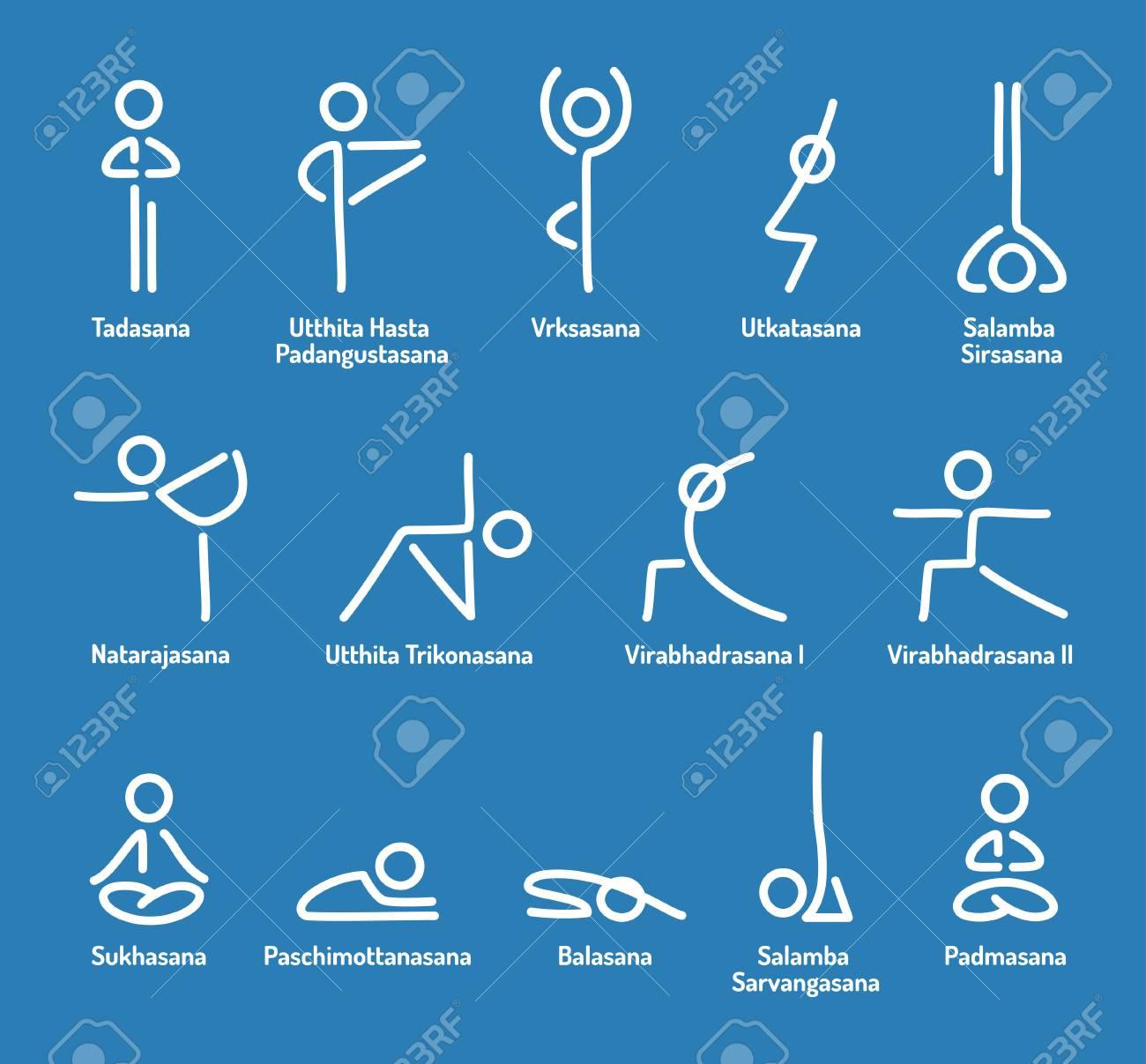 Simple stylized yoga poses icon set. Stick figures in yoga asanas..