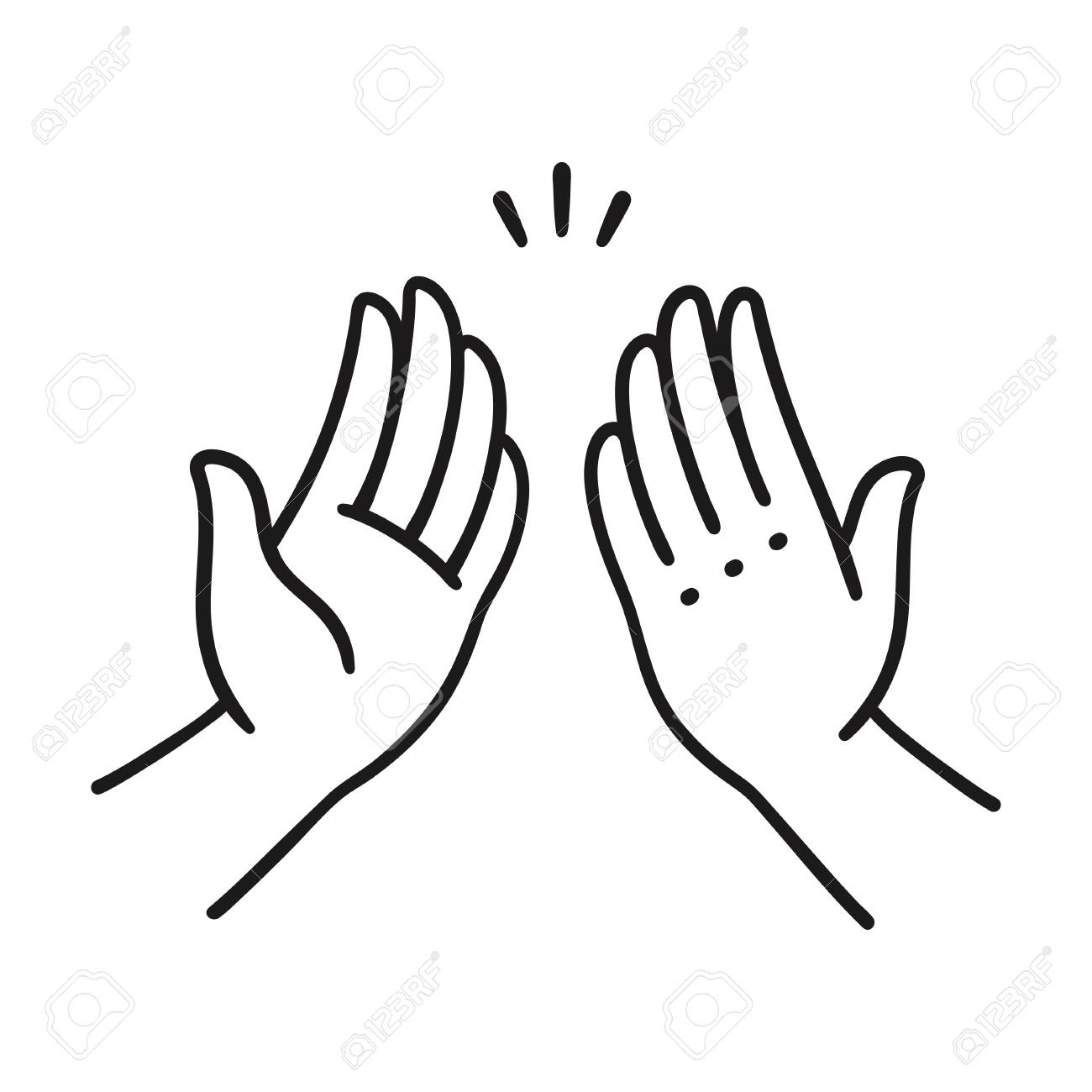 Sep of two hands clapping in high five gesture. Simple cartoon style vector illustration. - 92847692