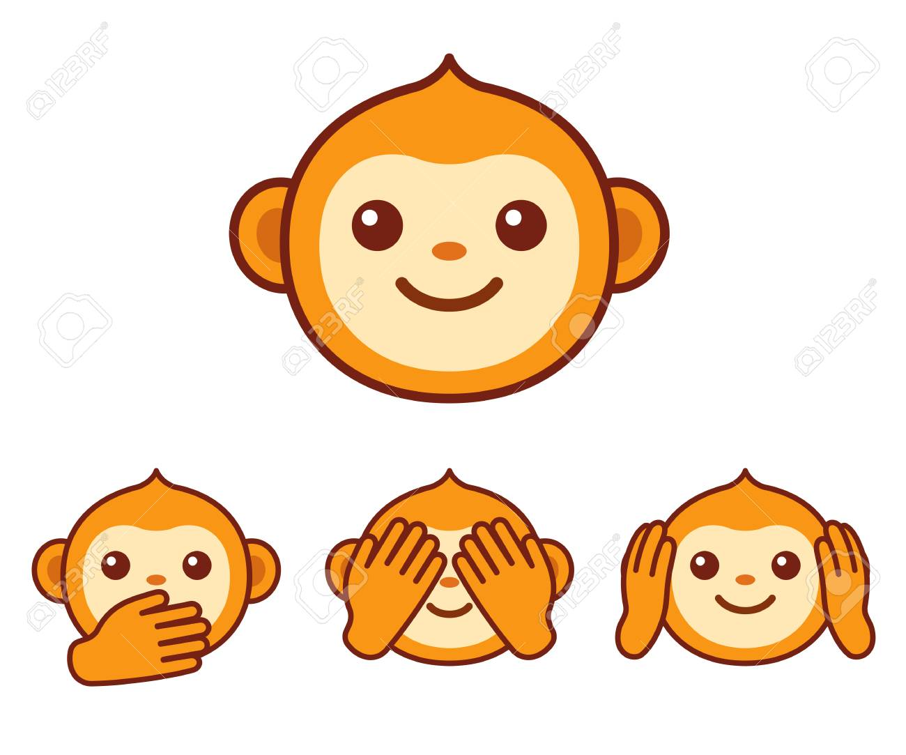 Cute Cartoon Monkey Face Icon Three Wise Monkeys With Hands