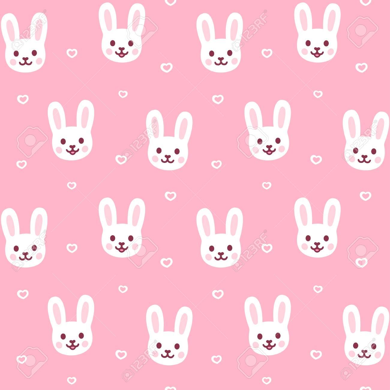 Cute Cartoon Rabbit Pattern Easter Bunny Face Repeating Texture