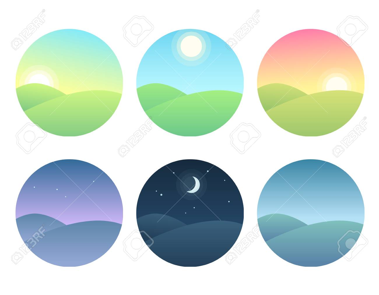 Nature landscape at different times of day. Soft gradients, simple and modern vector illustration set. - 94306810