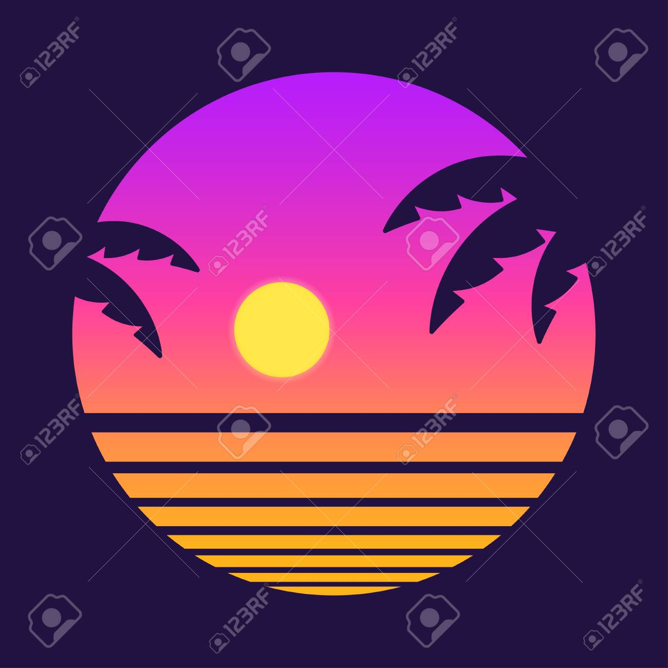 Retro style tropical sunset with palm tree silhouette and gradient background. Classic 80s design vector illustration. - 94306809
