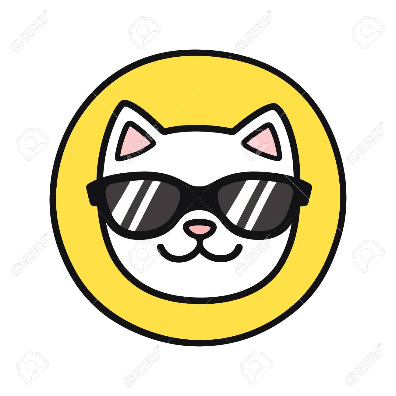 Funny Cartoon Cat Face In Cool Sunglasses Simple And Cute Icon