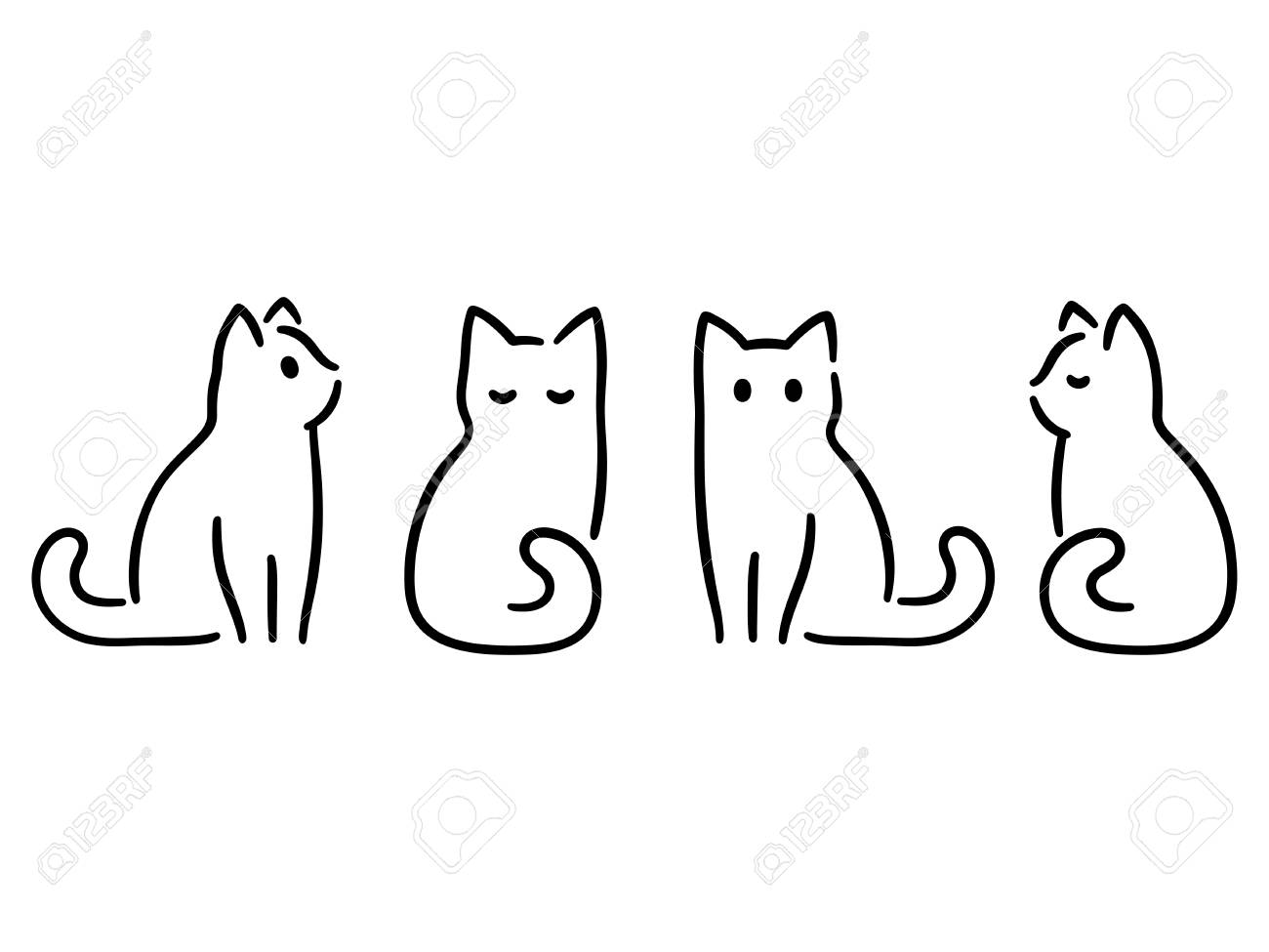 Minimalist cats drawing set. Cat doodles in abstract hand drawn style, black and white line art vector illustration. - 95218342
