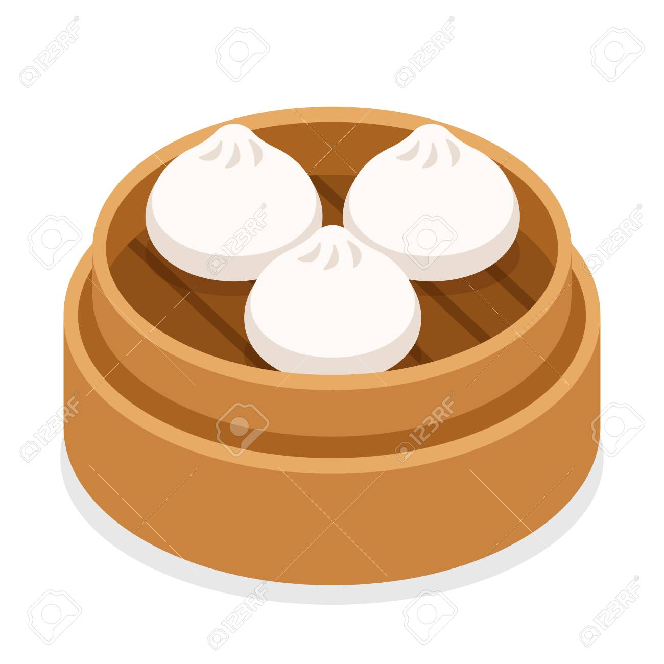 Dim sum, traditional Chinese dumplings, in bamboo steamer basket. Asian food vector illustration. - 95218808