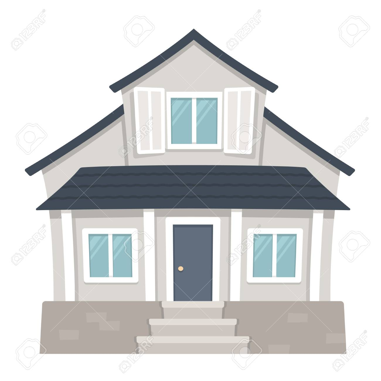 Classic American Family House Cartoon Drawing Traditional Suburban Royalty Free Cliparts Vectors And Stock Illustration Image 95218343
