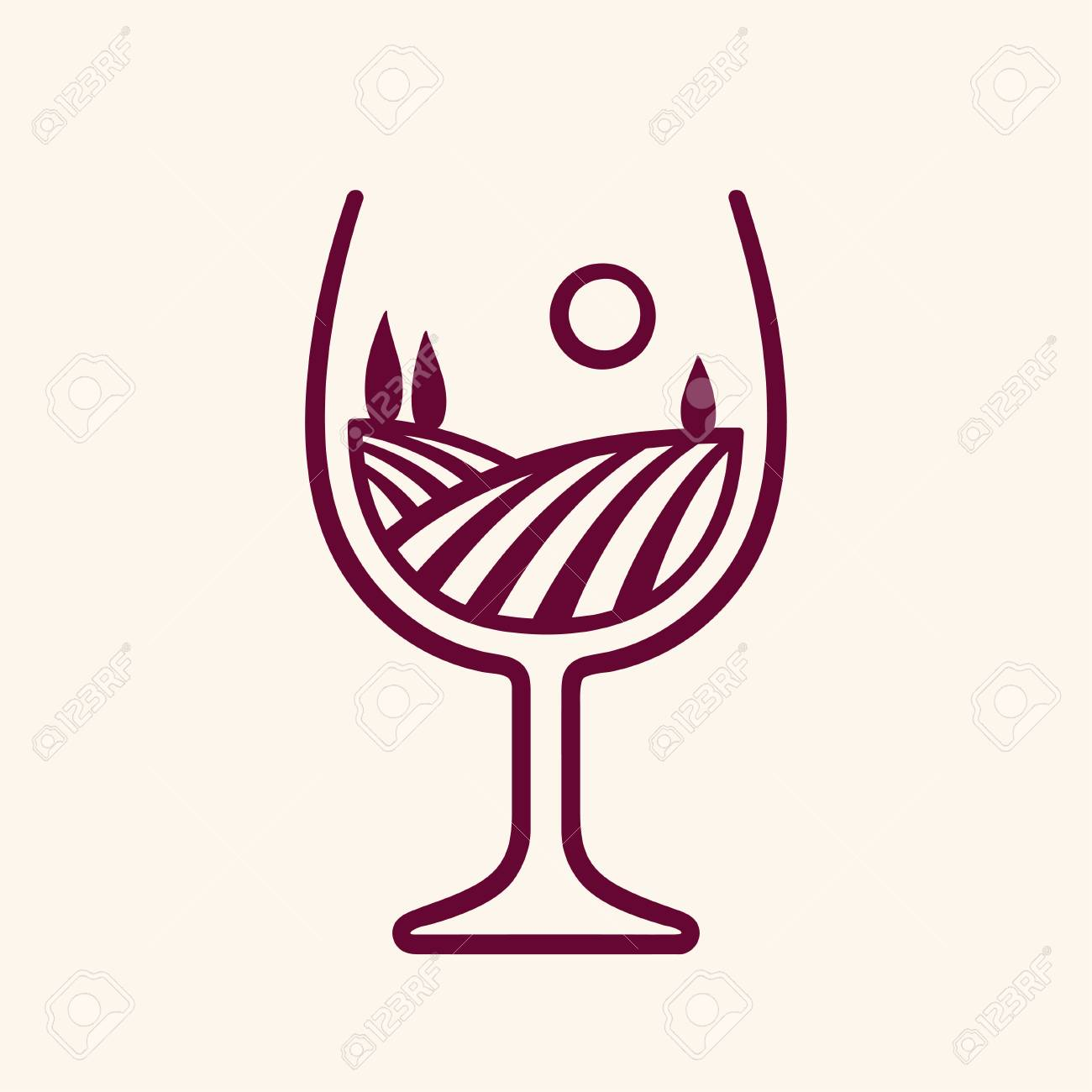 Stylized vineyard landscape in wine glass shape, vector illustration. Modern monochrome winery logo. - 95218811