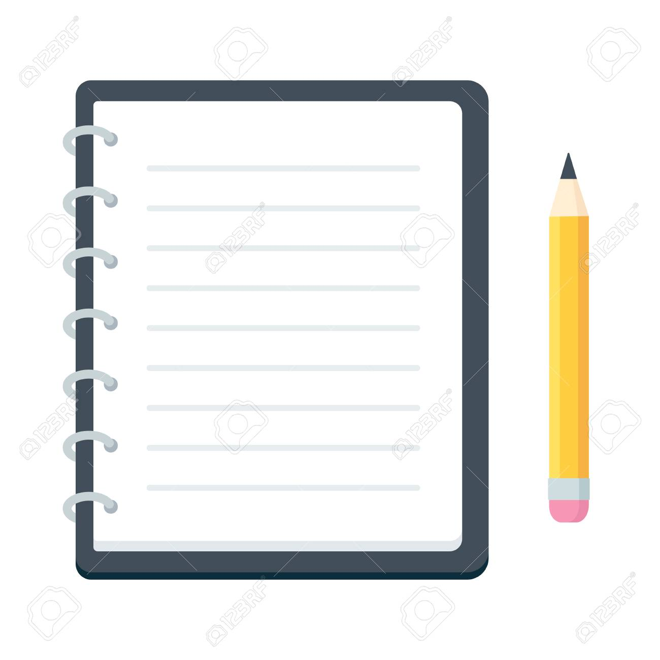 Blank spiral notebook and pencil, flat vector illustration. Simple notepad planner template. - 96203898