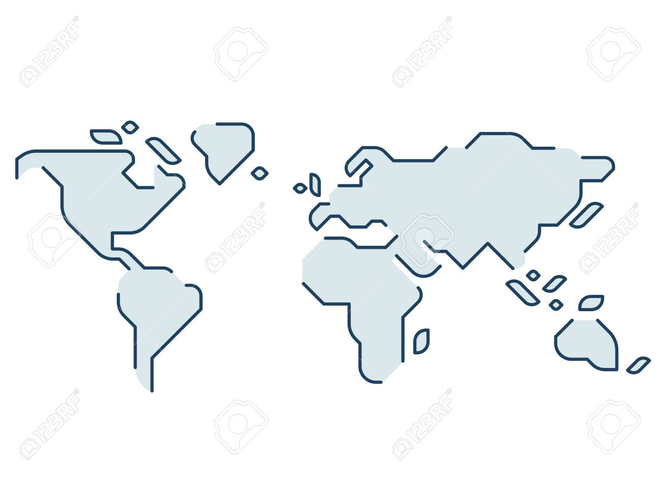Simple Stylized World Map. Continents Silhouette In Minimal Line ...