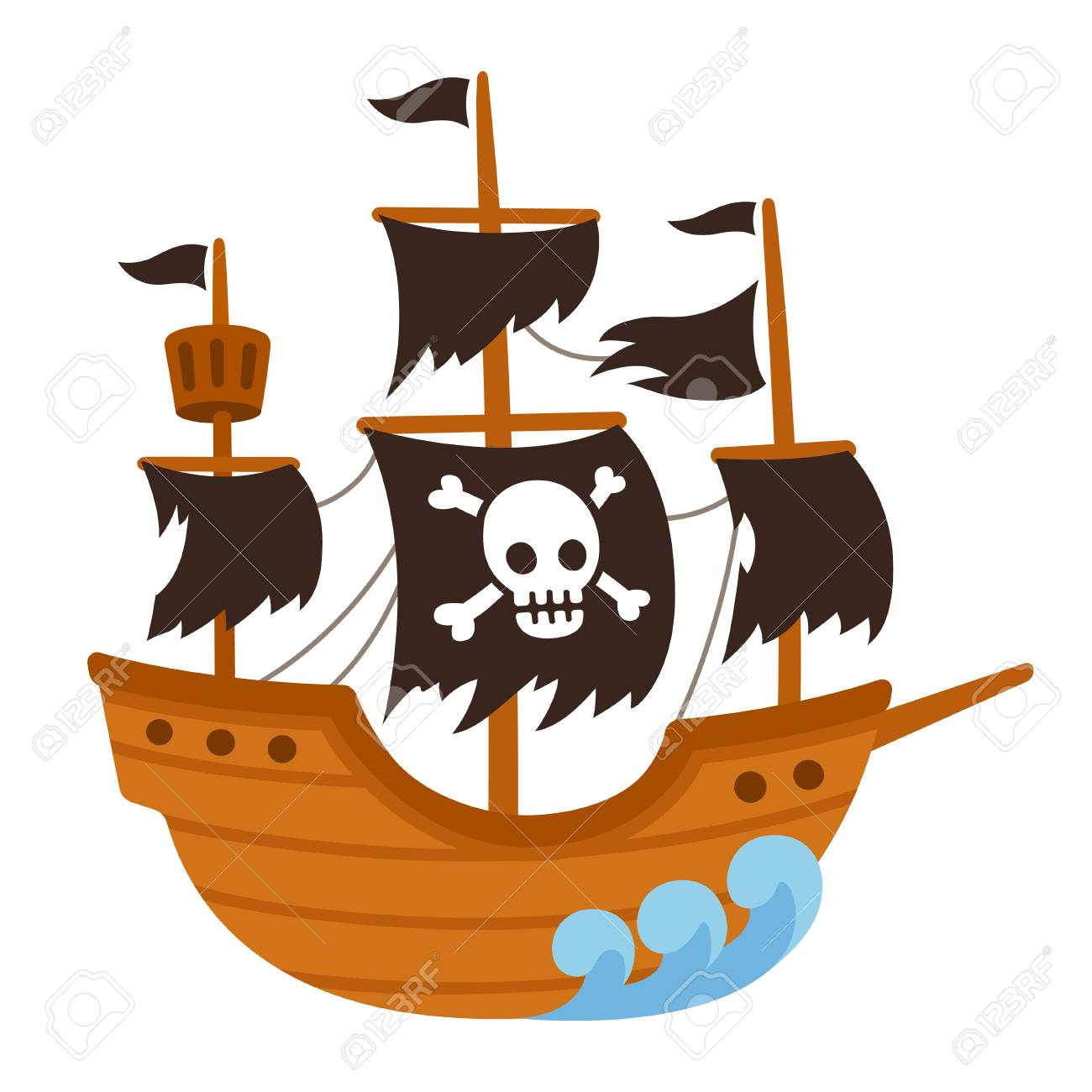 cartoon pirate ghost ship illustration with skull flag and torn rh 123rf com Tattered Pirate Flag Clip Art Old Scroll Clip Art