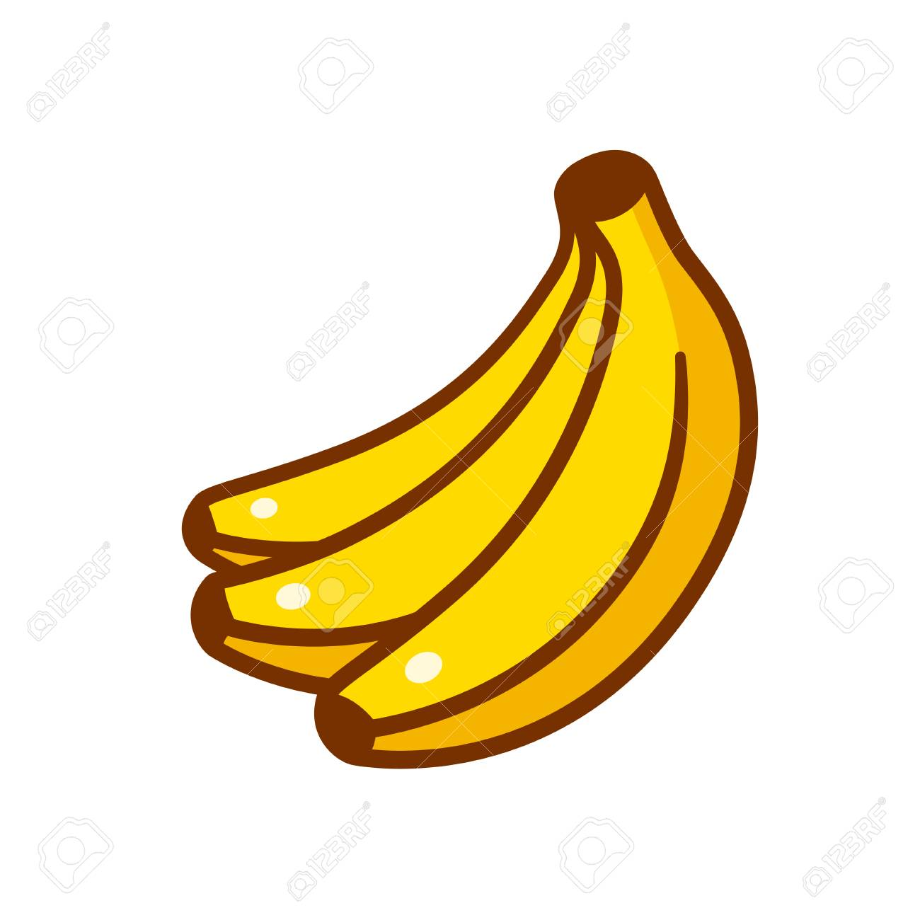 Cartoon Bunch Of Bananas Drawing Comic Style Vector Illustration Isolated On White Stock