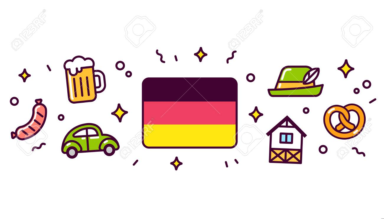 Germany Banner Design Elements German Flag Surrounded With