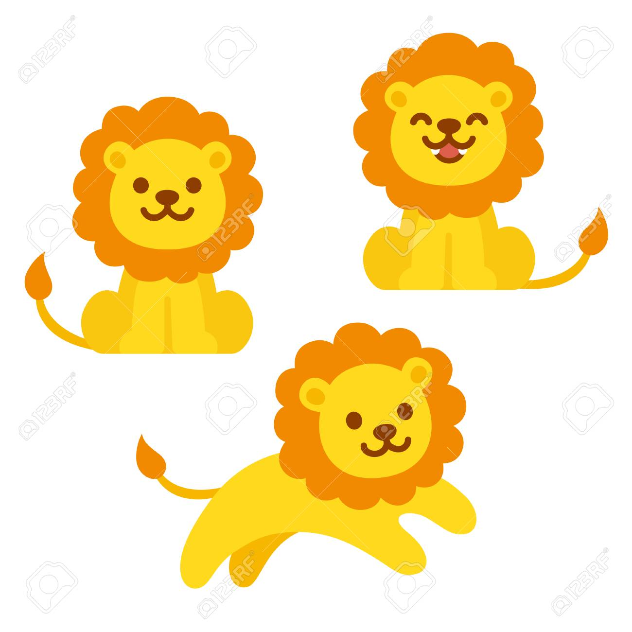 cute cartoon lion illustration set sitting roaring and jumping rh 123rf com roaring lion clipart black and white cartoon roaring lion clipart