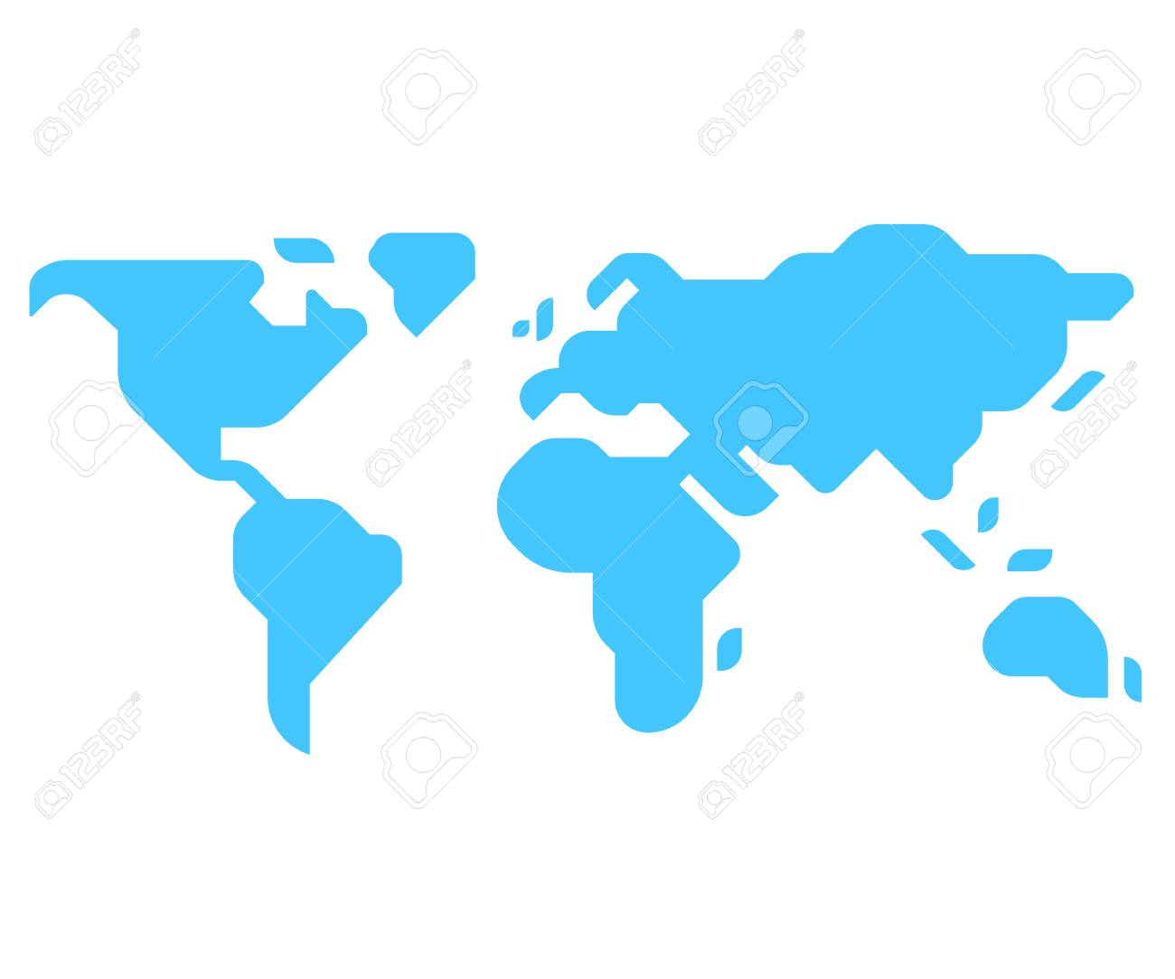 Simple Stylized World Map Silhouette In Modern Minimal Style. Isolated  Vector Illustration. Stock Vector