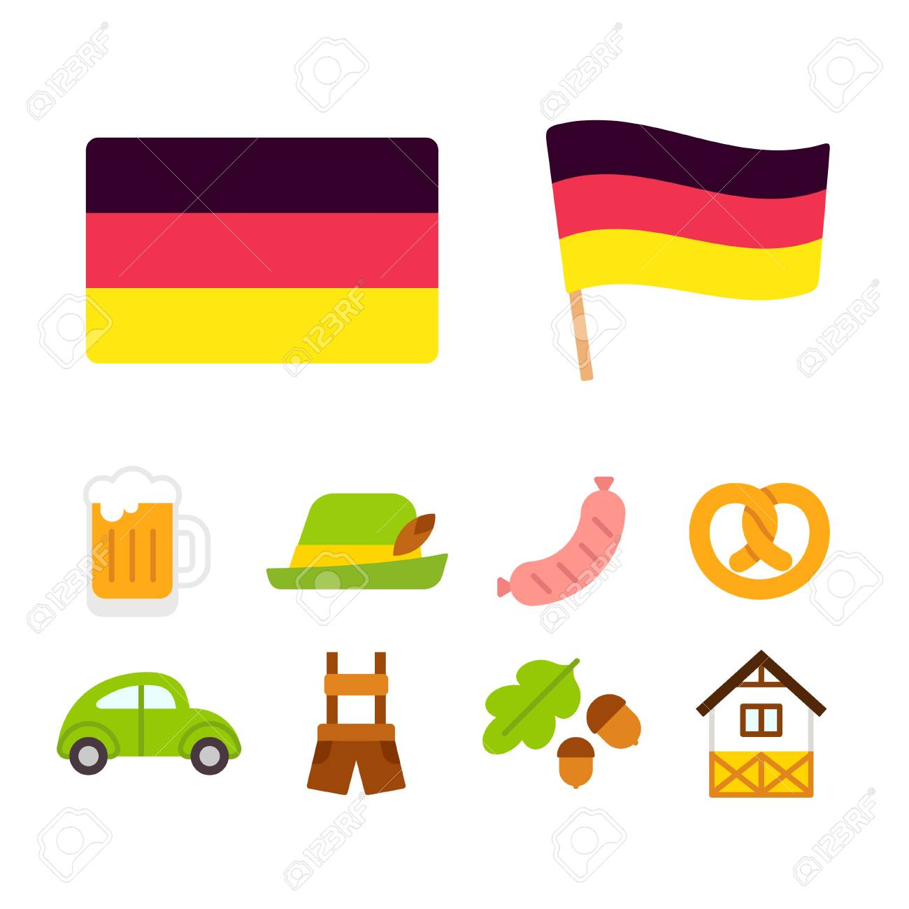 Germany Icons Set In Flat Cartoon Style Traditional German Culture