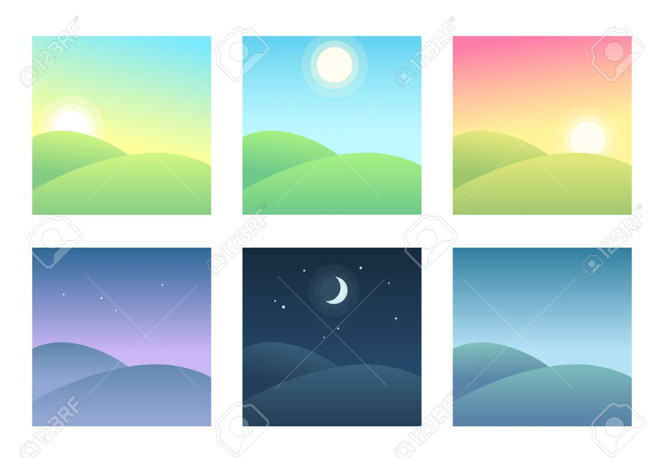 Landscape at different times of day, daily cycle illustration. Beautiful hills at morning, day and night. - 99729811