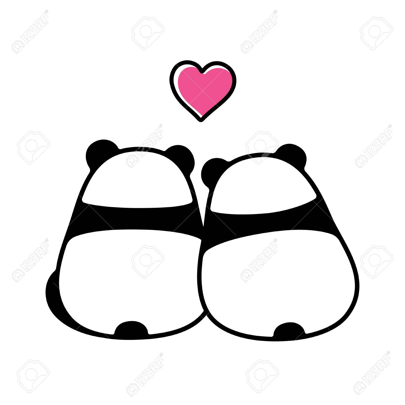 Cute panda couple in love simple and minimal cartoon drawing back view from behind