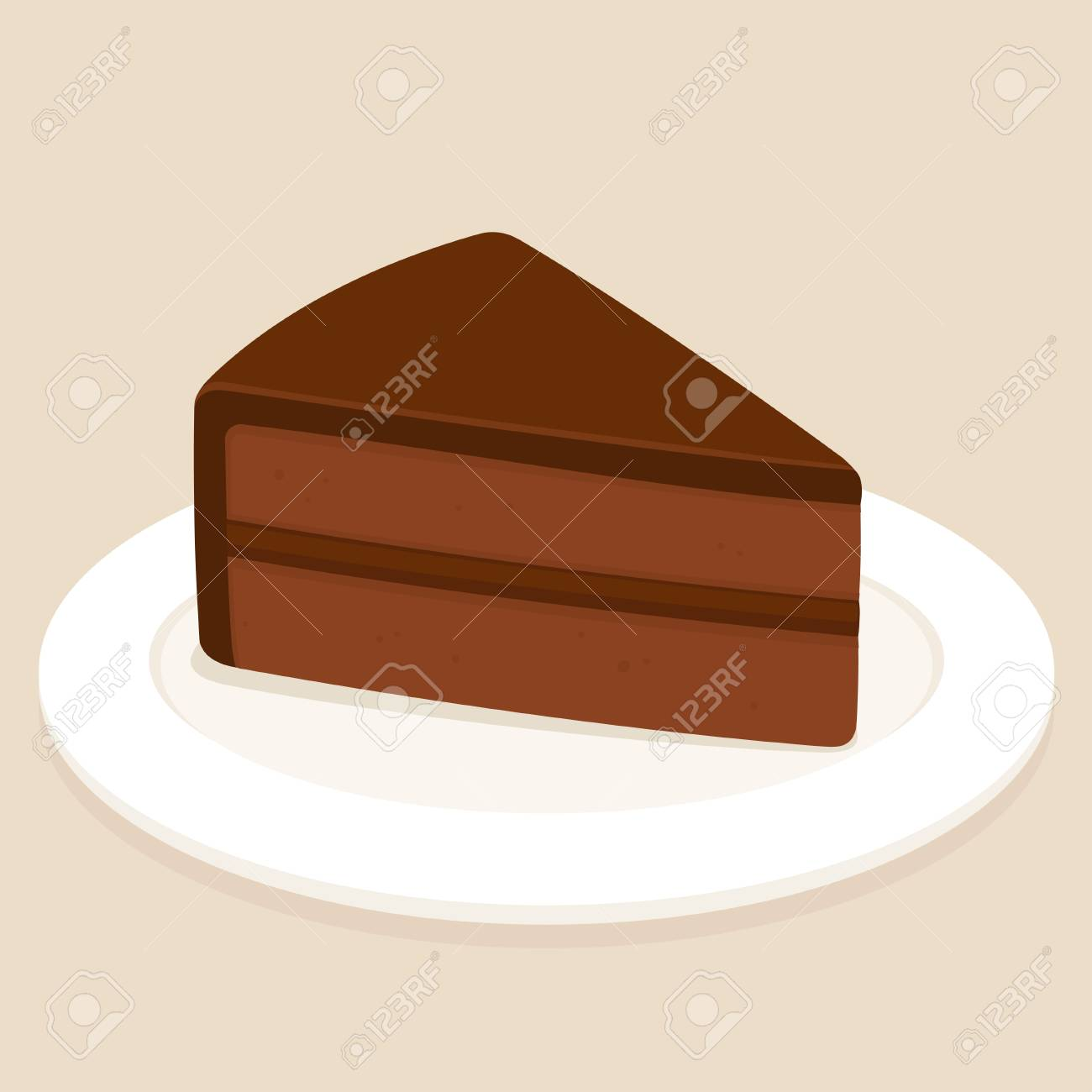 Sachertorte, traditional Austrian chocolate cake with ganache frosting vector illustration - 101154462
