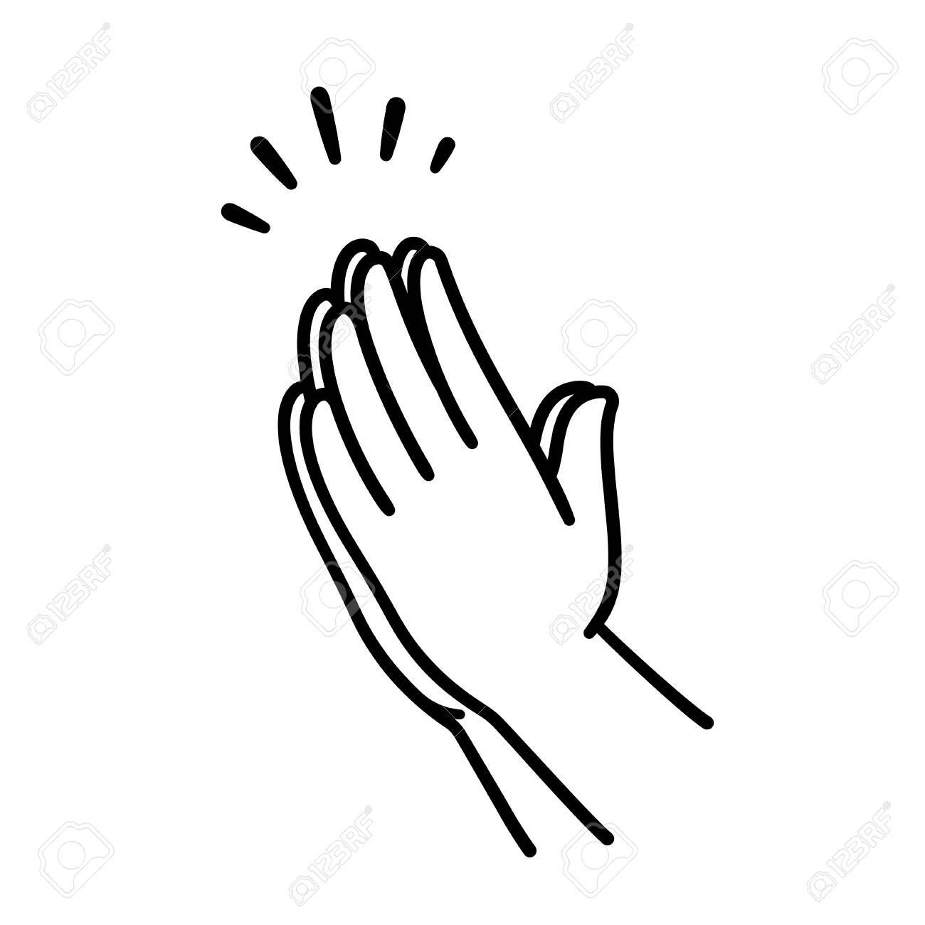 Praying hands drawing, simple line icon illustration. Hands folded in Christian prayer. - 101901204