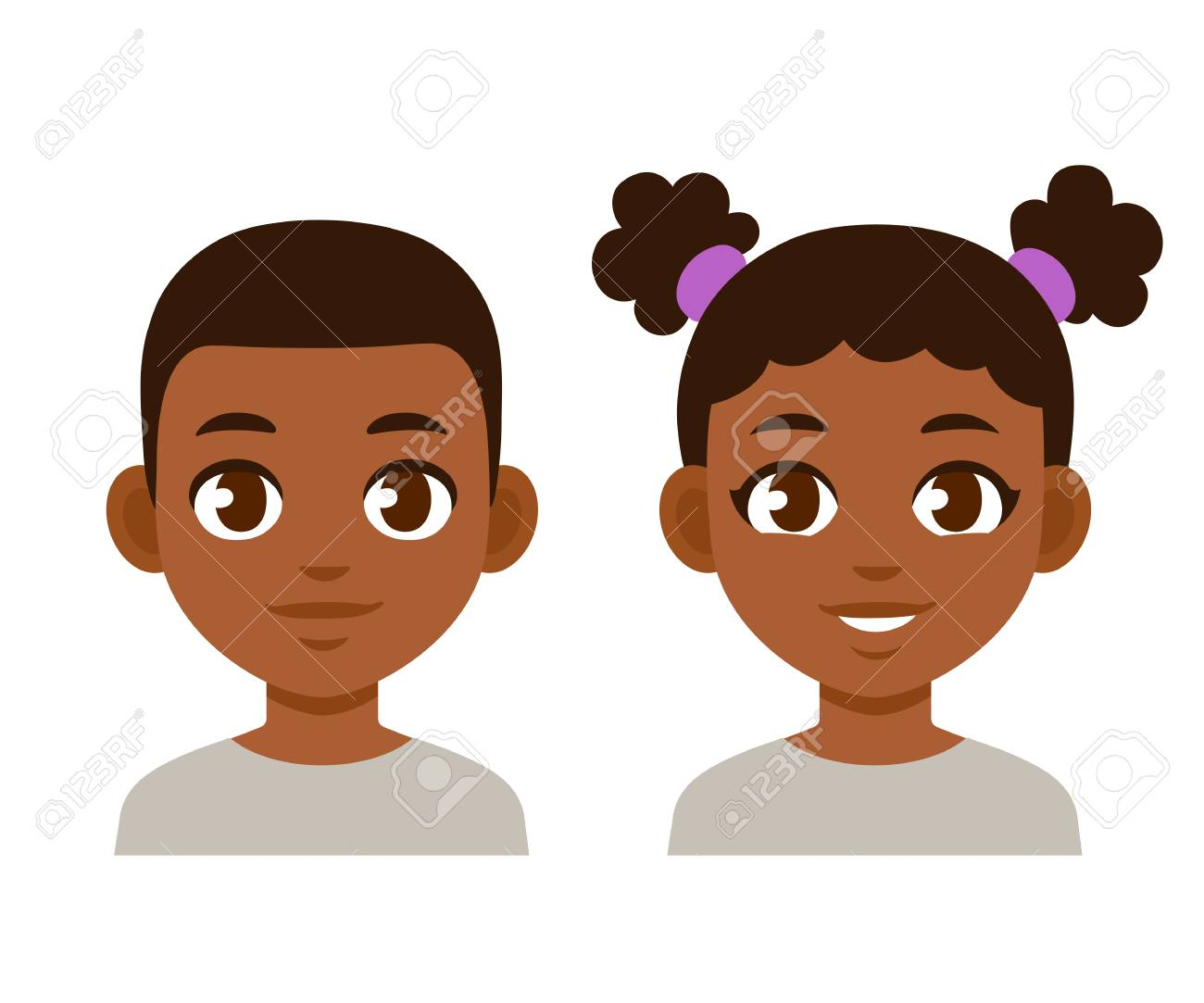 Cute cartoon black children portraits. African American boy and girl isolated vector illustration. - 104906736